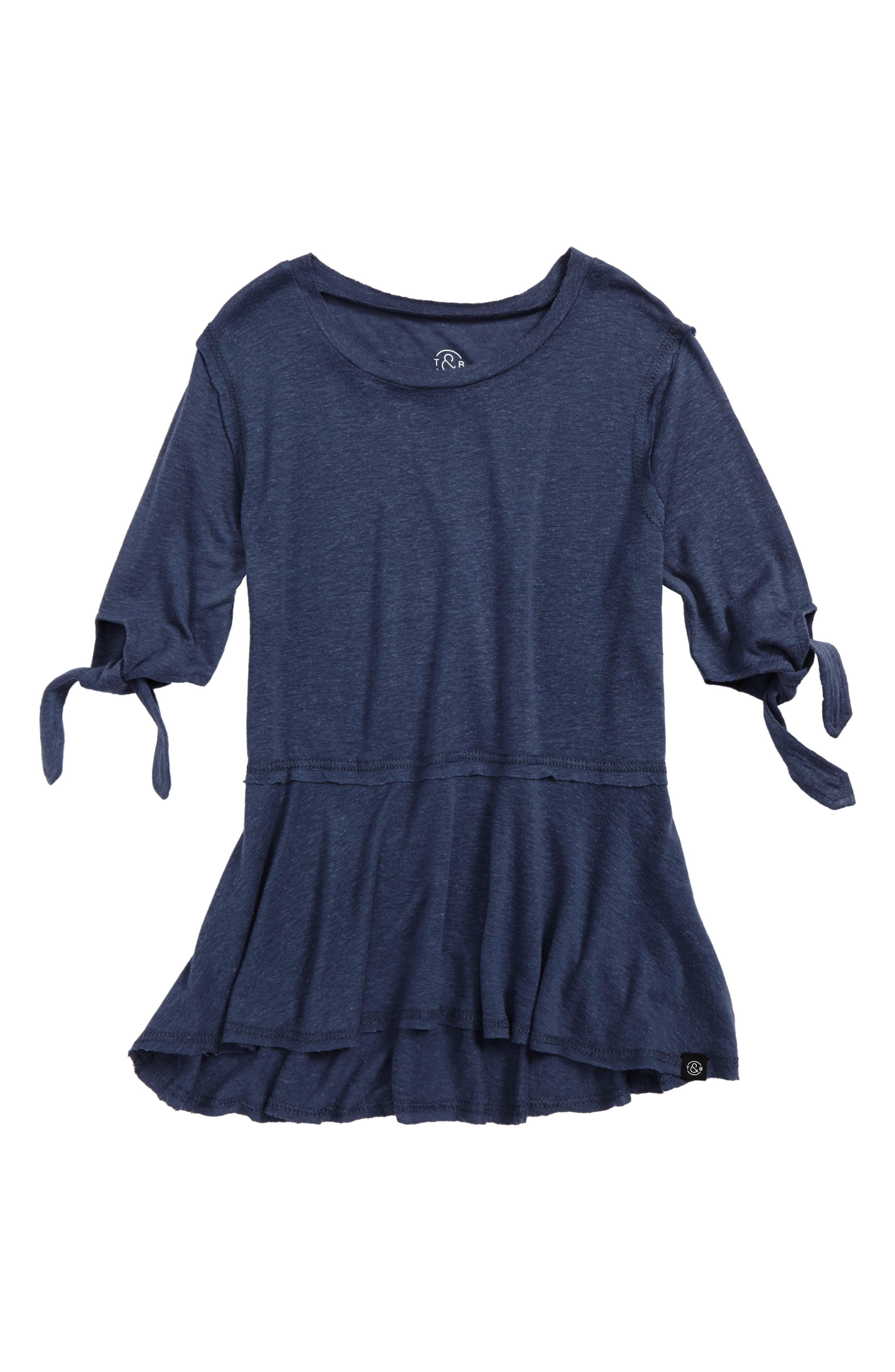 Main Image - Treasure & Bong Tie Sleeve Peplum Top (Big Girls)