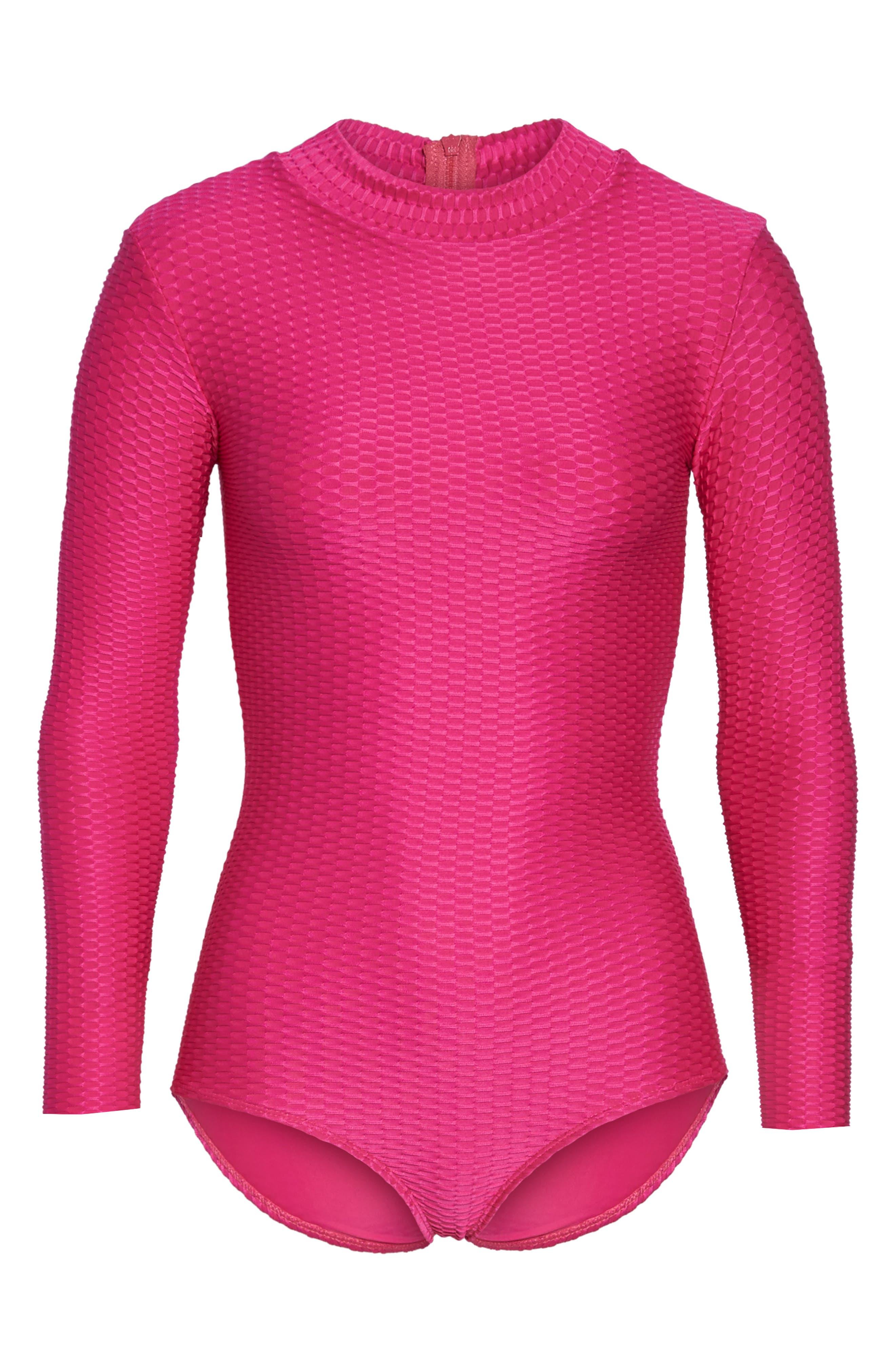 Long Sleeve One-Piece Swimsuit,                             Alternate thumbnail 6, color,                             Fuchsia