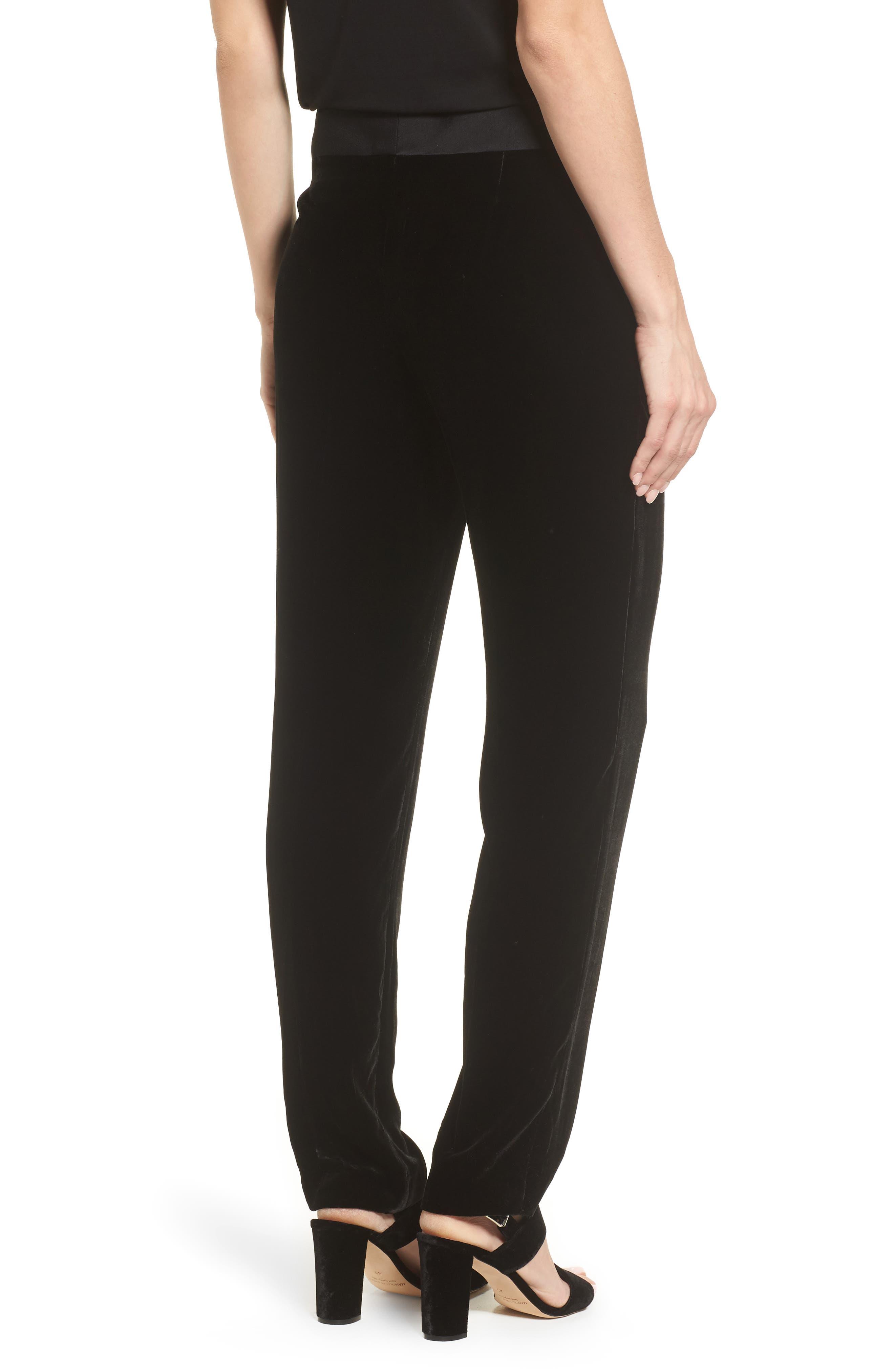 Tolesa Straight Leg Velvet Pants,                             Alternate thumbnail 2, color,                             Black