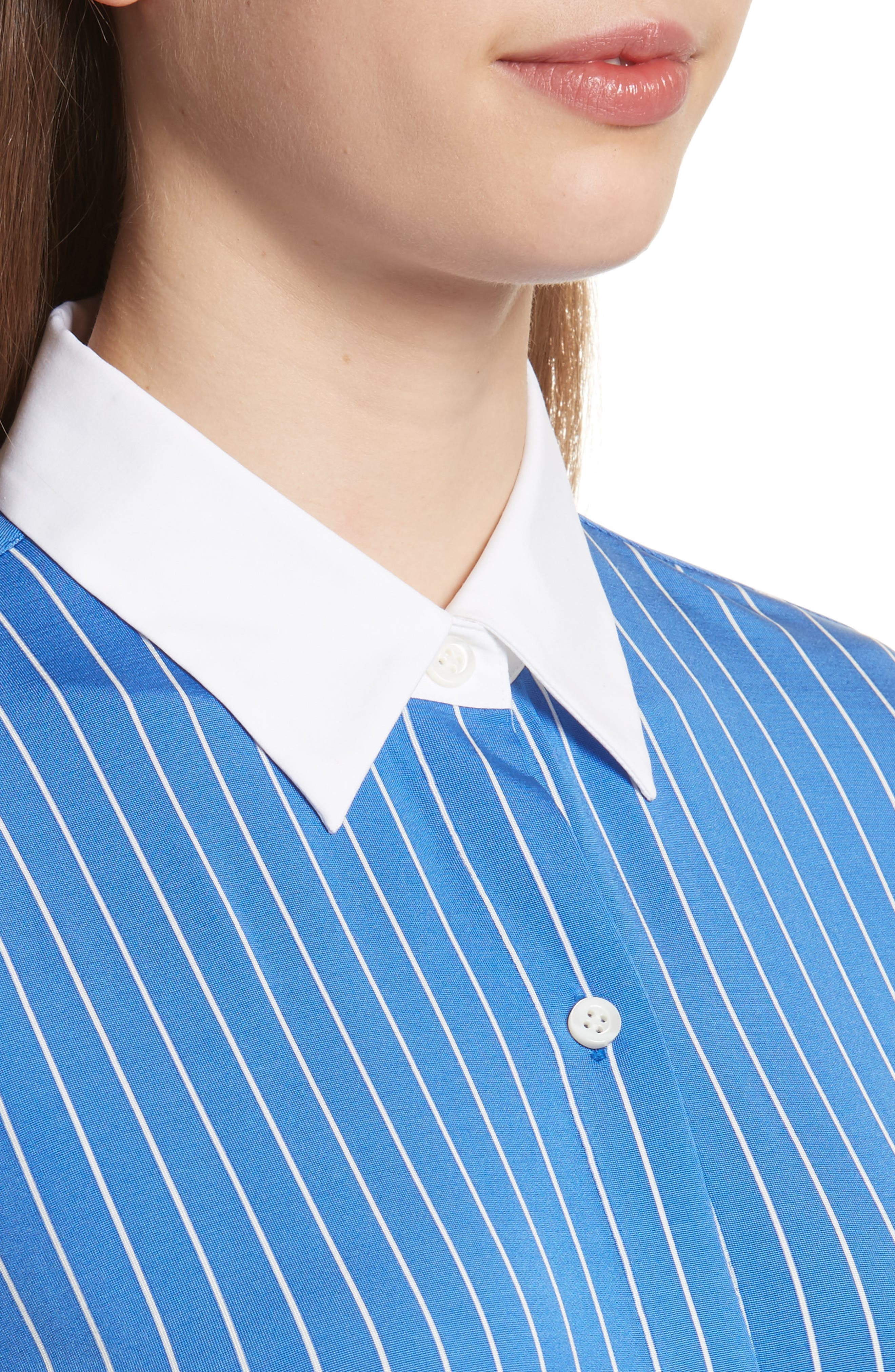 Essential Stripe Jersey Button Down Shirt,                             Alternate thumbnail 4, color,                             Blue/ White