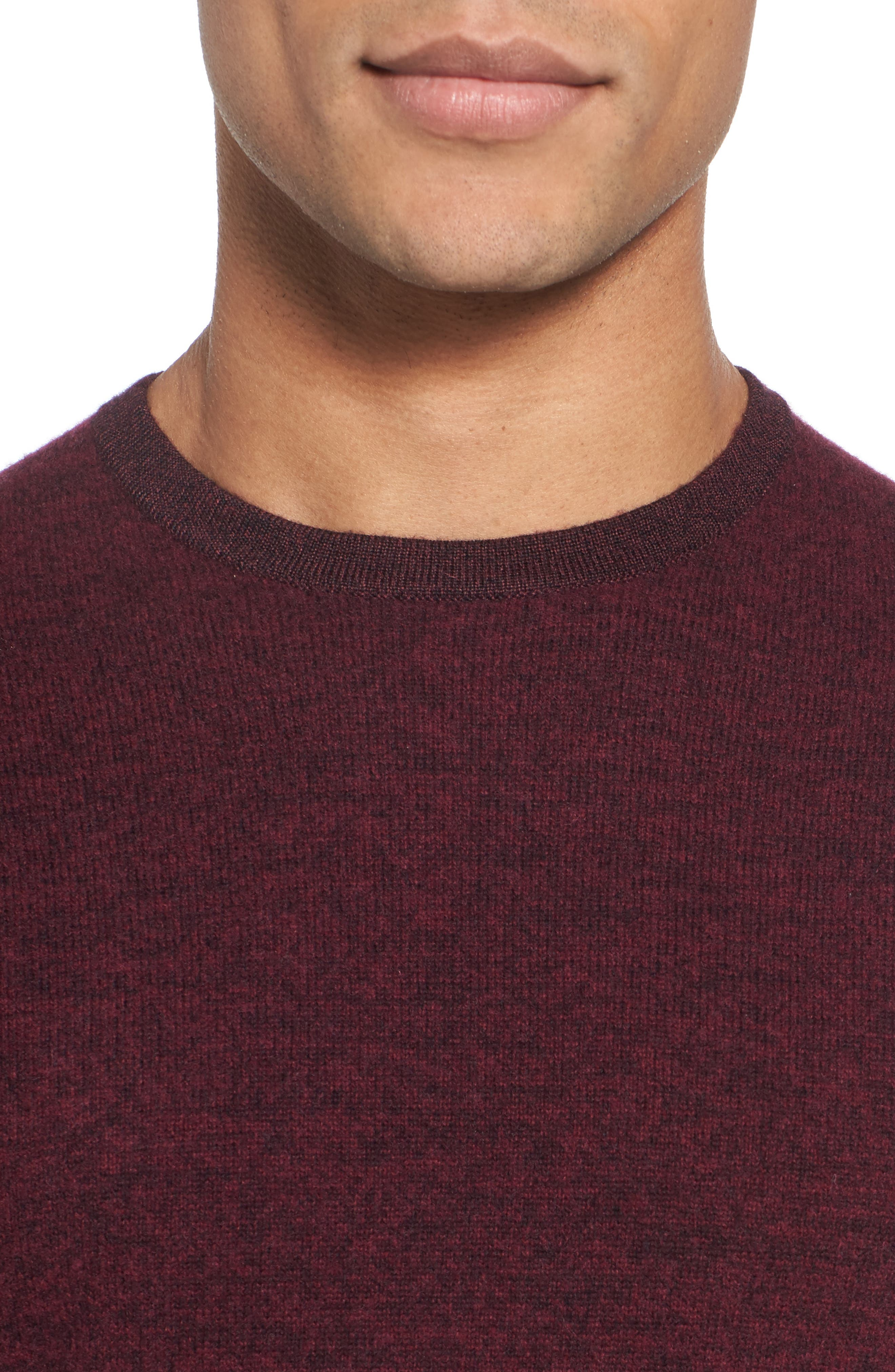 Boiled Wool Blend Crewneck Sweater,                             Alternate thumbnail 4, color,                             Burgundy Stem