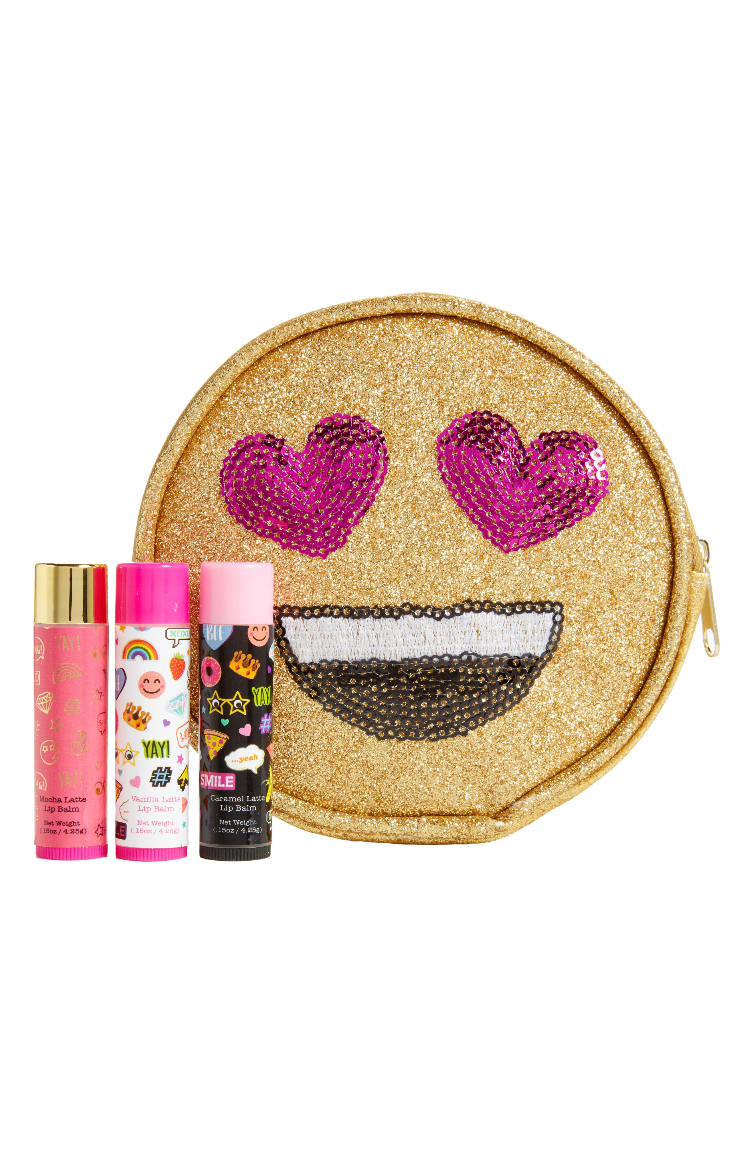 Capelli of New York 4-Piece Emoji Lip Balm & Pouch Set,                             Main thumbnail 1, color,                             Yellow