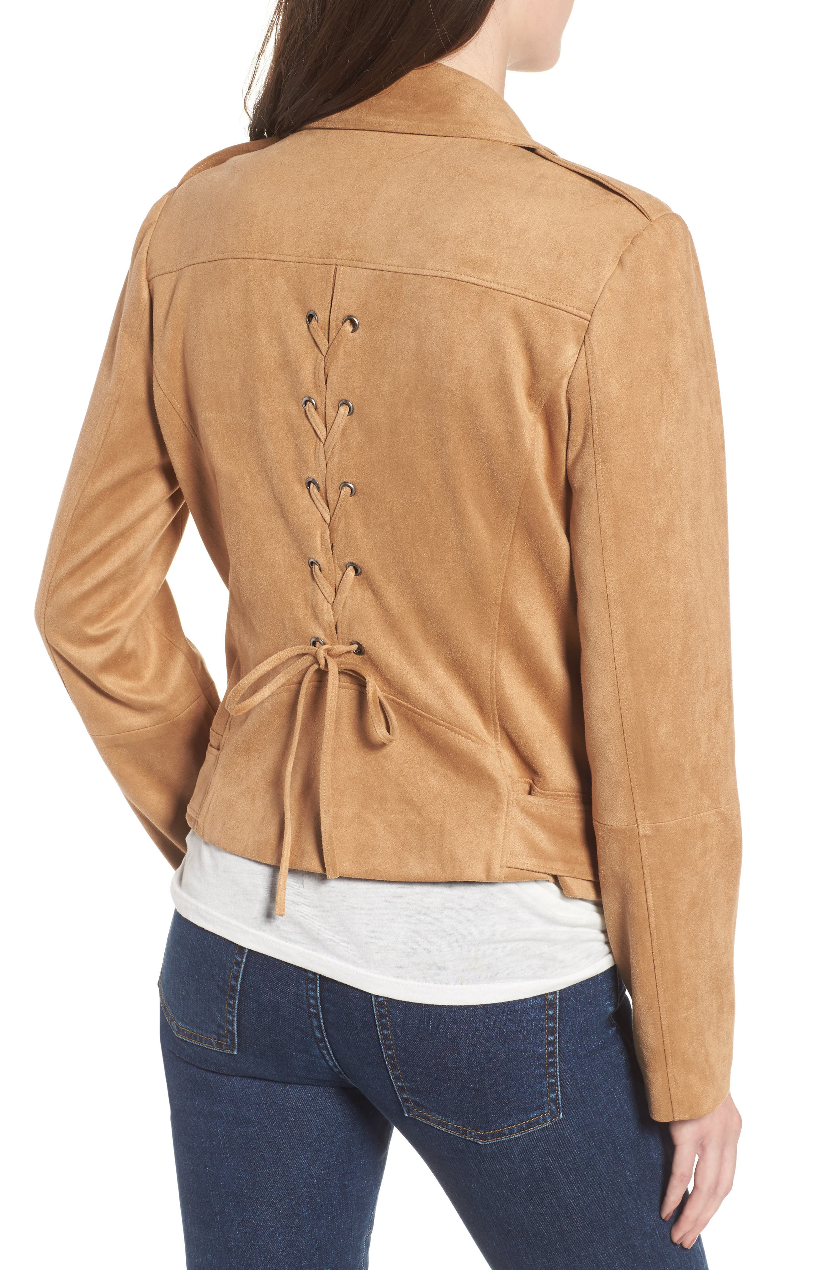 Nathan Faux Suede Jacket,                             Alternate thumbnail 2, color,                             Whiskey