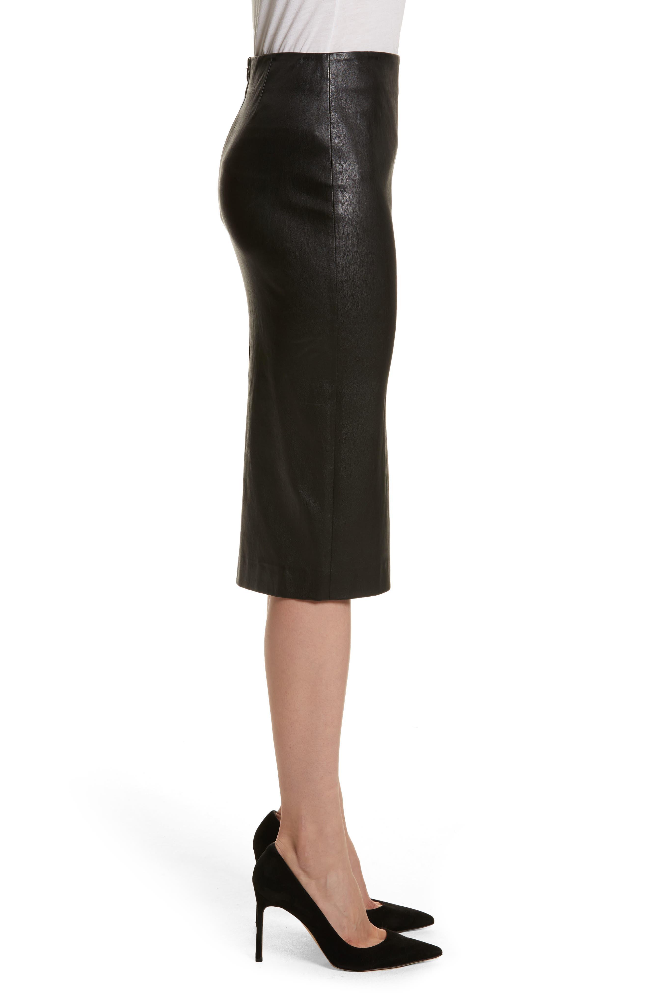 Leather Skinny Pencil Skirt,                             Alternate thumbnail 3, color,                             Black