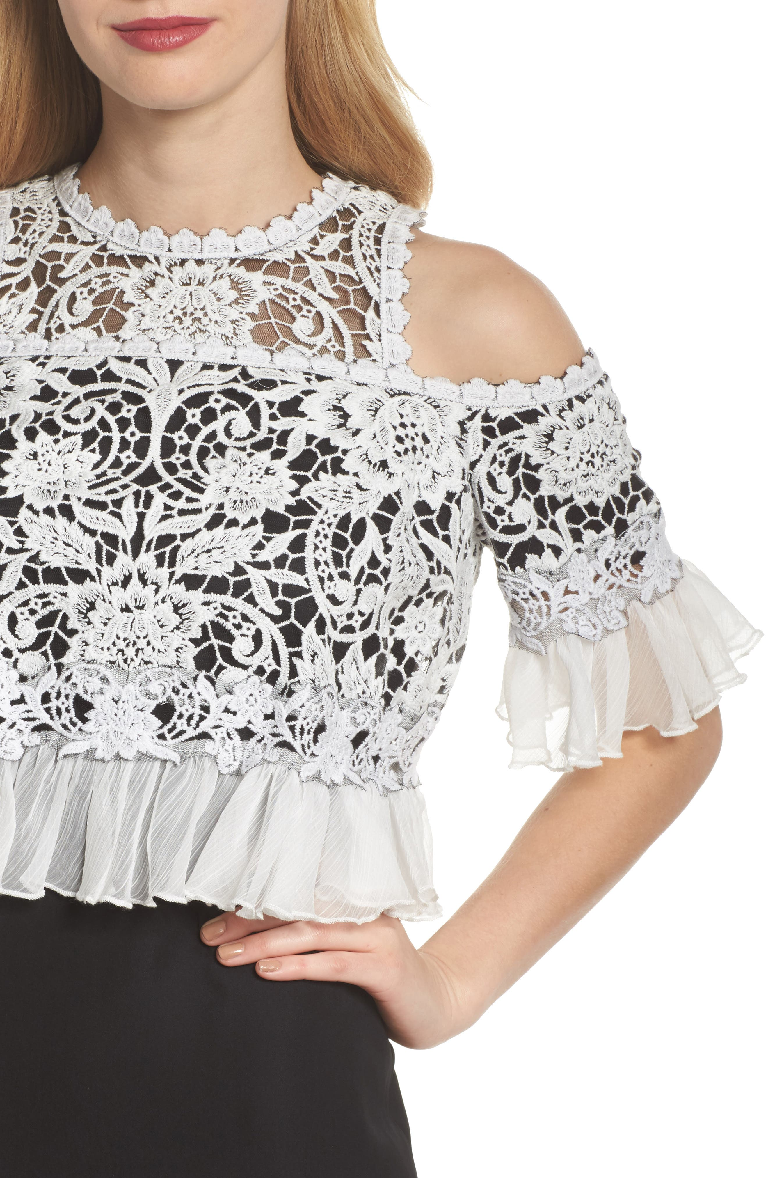 Crochet Bodice Gown,                             Alternate thumbnail 4, color,                             Black/ Ivory