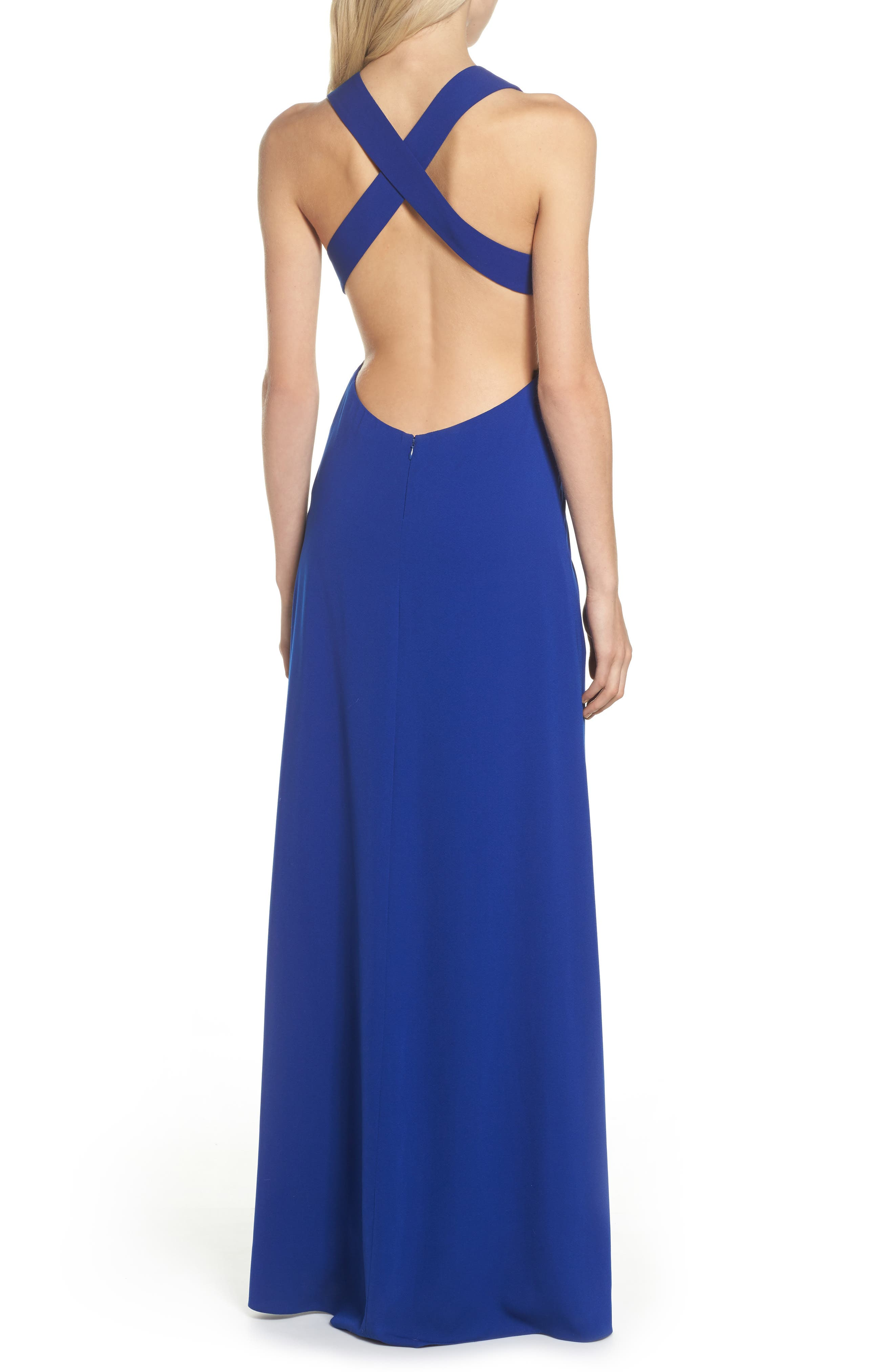 Cutout Crepe Gown,                             Alternate thumbnail 2, color,                             China Blue