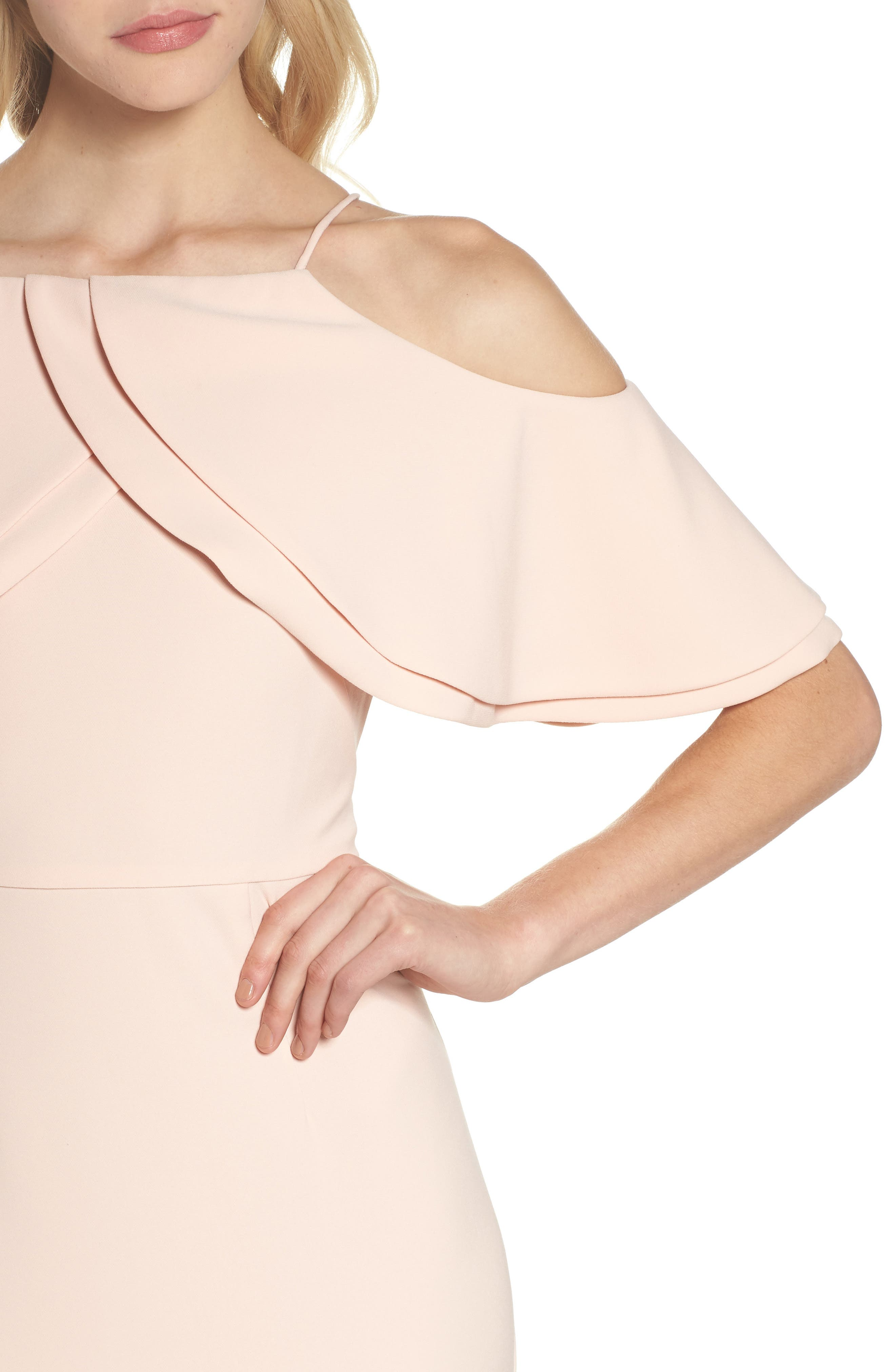 Ruffle Bodice Cold Shoulder Gown,                             Alternate thumbnail 4, color,                             Blush
