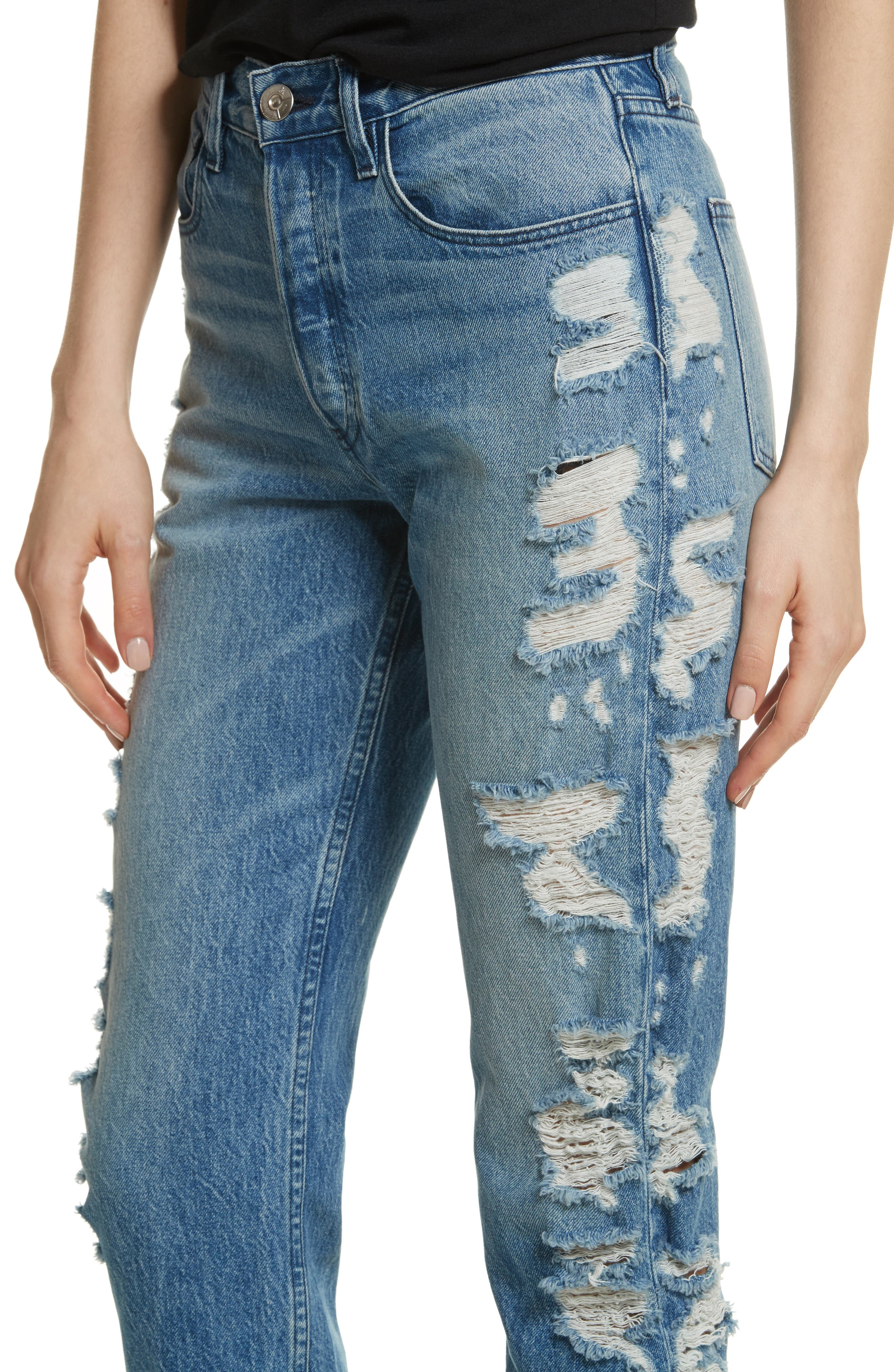 W3 Higher Ground Distressed Ankle Slim Fit Jeans,                             Alternate thumbnail 4, color,                             Dosa