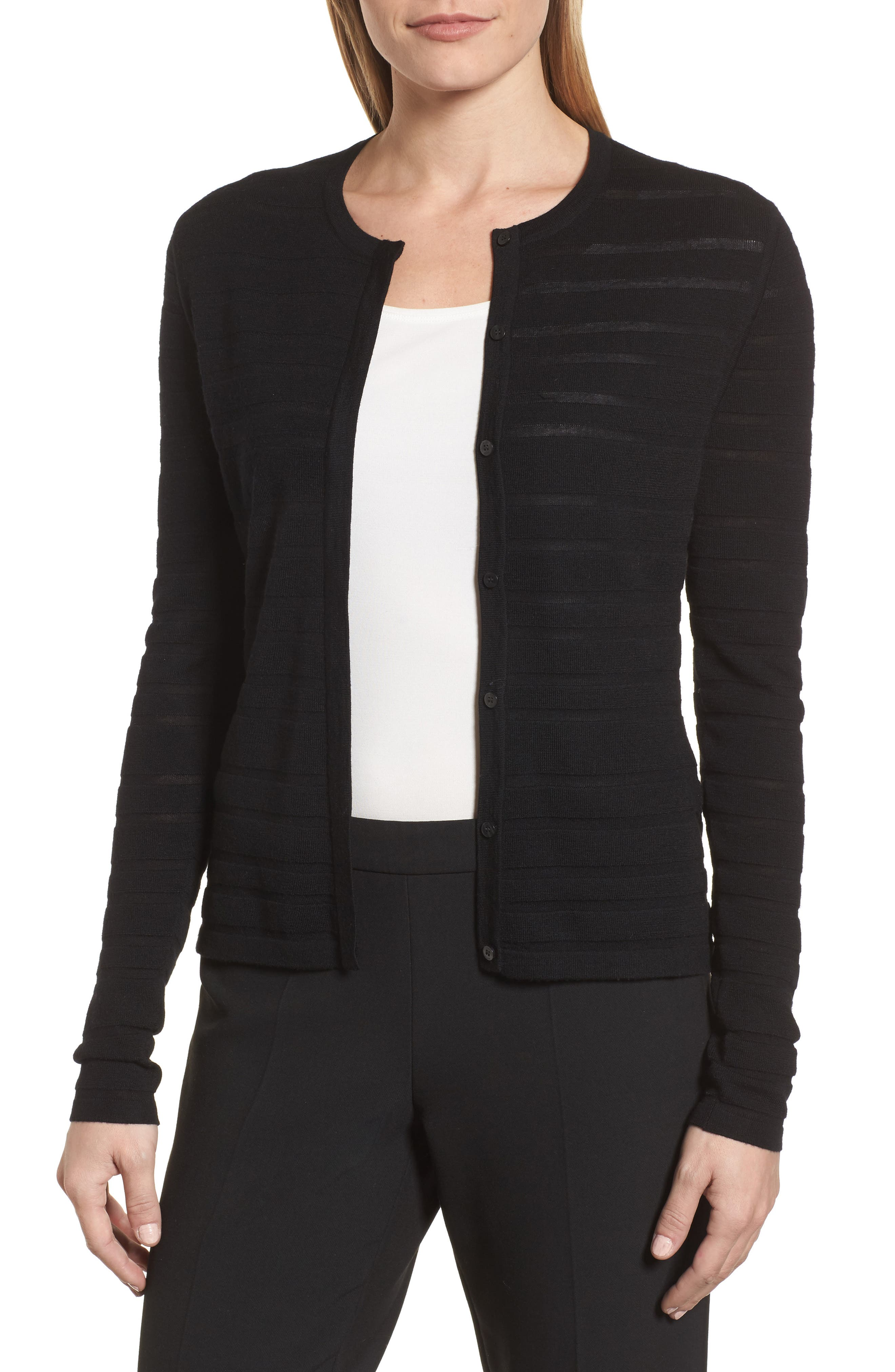 Fahsa Stripe Textured Wool Cardigan,                             Main thumbnail 1, color,                             Black