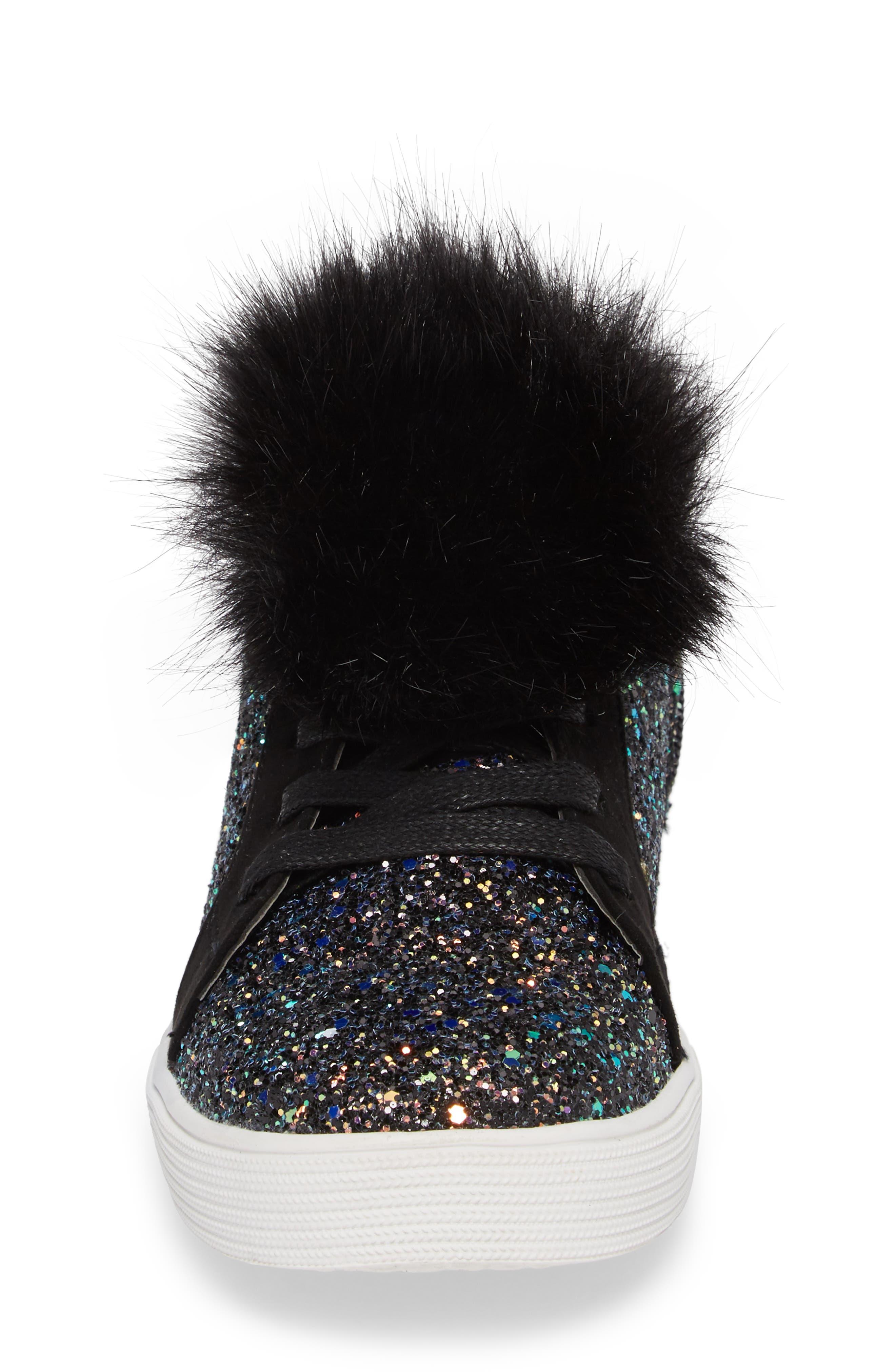 Bella Hira Faux Fur Glitter Pom Sneaker,                             Alternate thumbnail 4, color,                             Black Multi Chunky Glitter