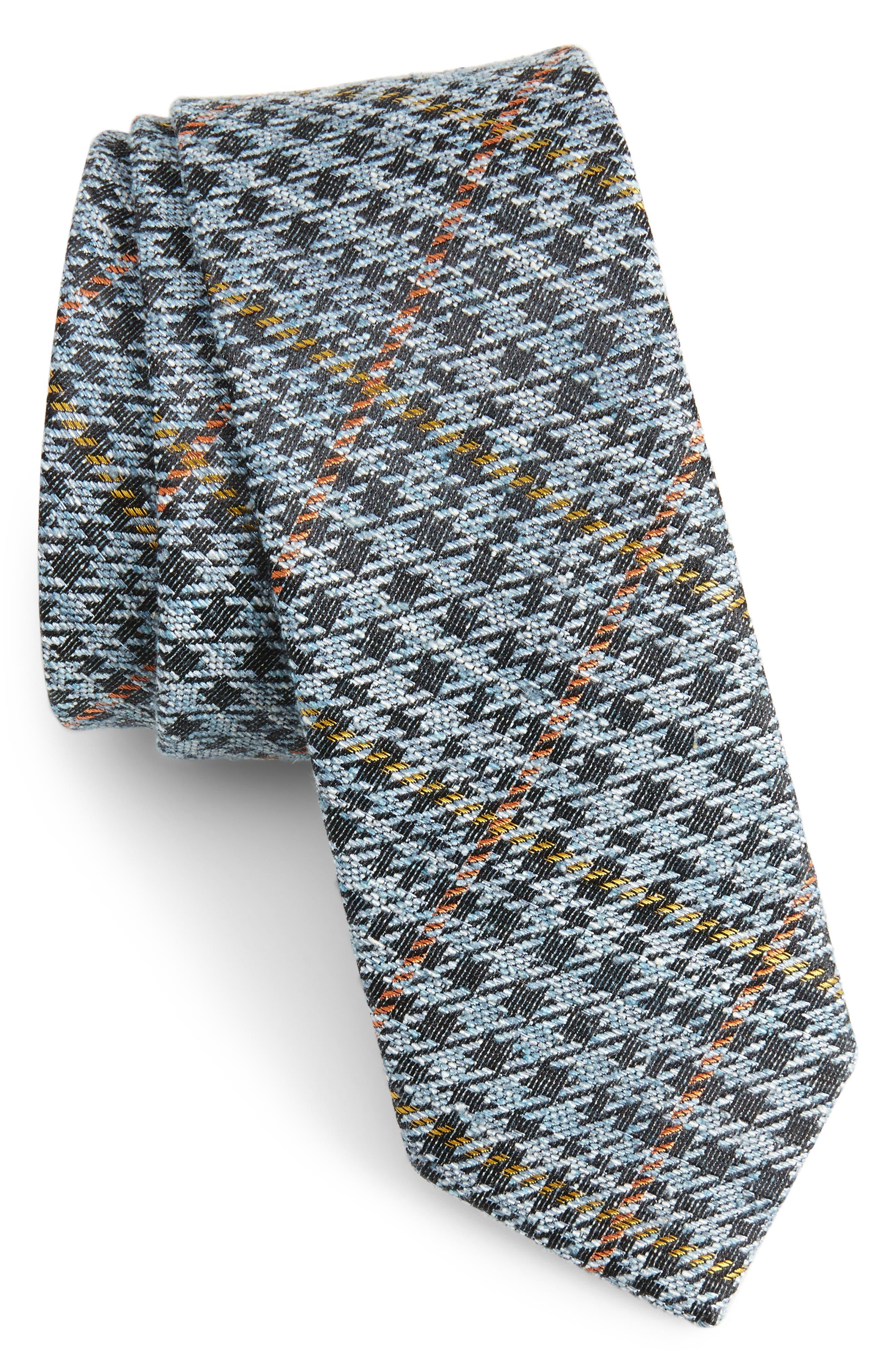 Quinn Plaid Silk Skinny Tie,                         Main,                         color, Light Blue