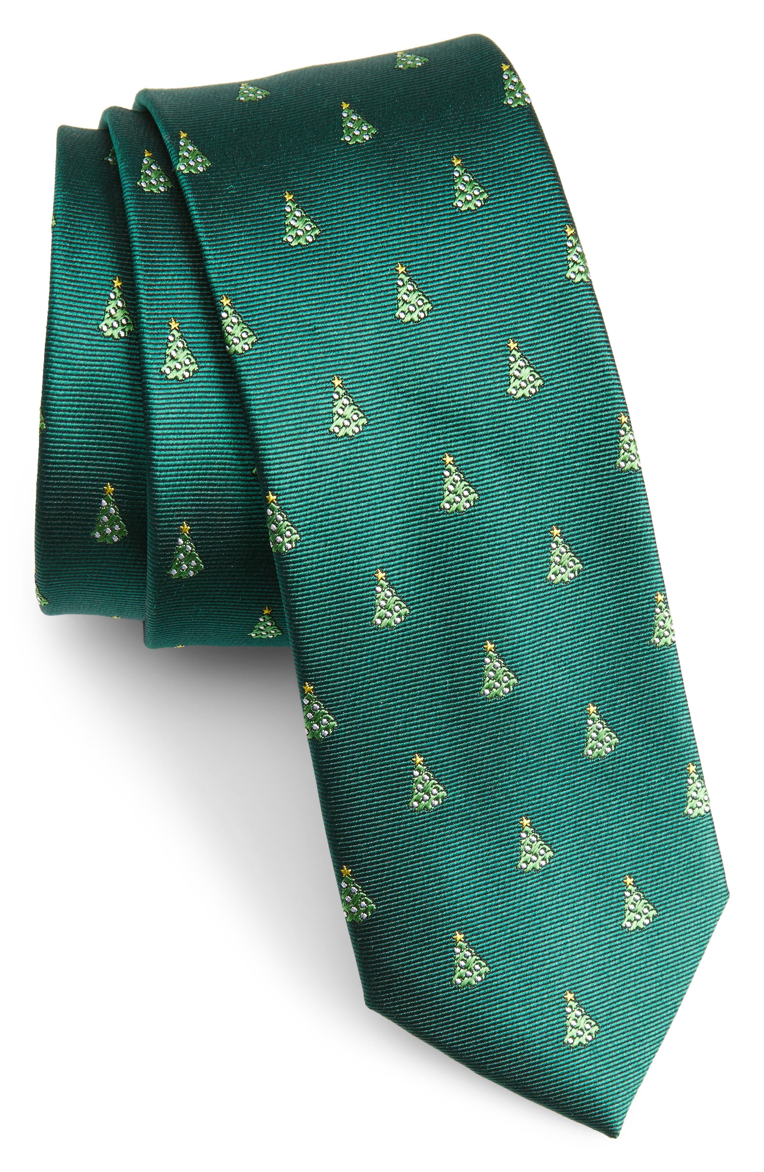 Main Image - The Tie Bar O Christmas Tree Silk Skinny Tie