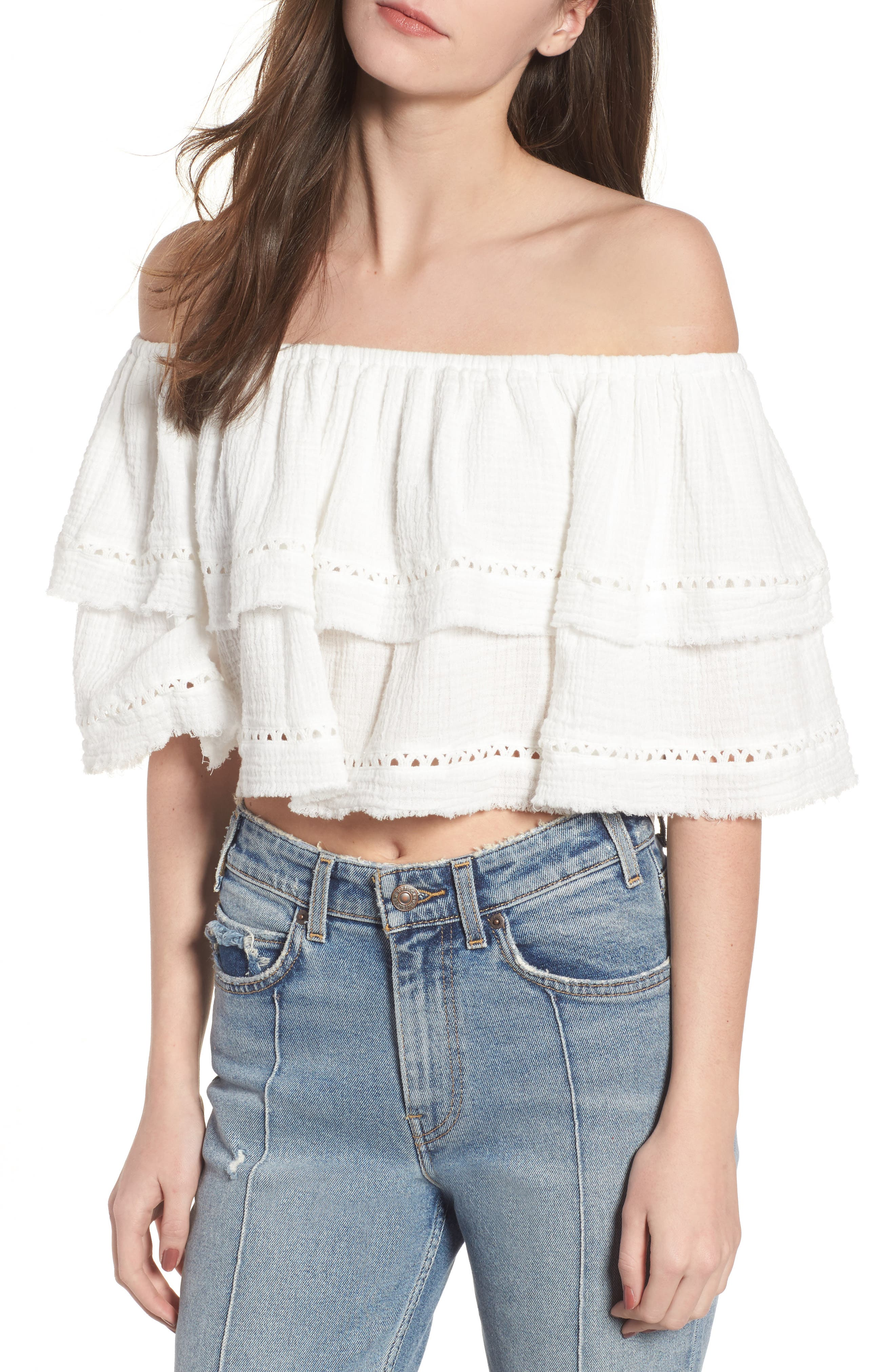 Sliding Currents Off the Shoulder Ruffle Top,                             Main thumbnail 1, color,                             Off White