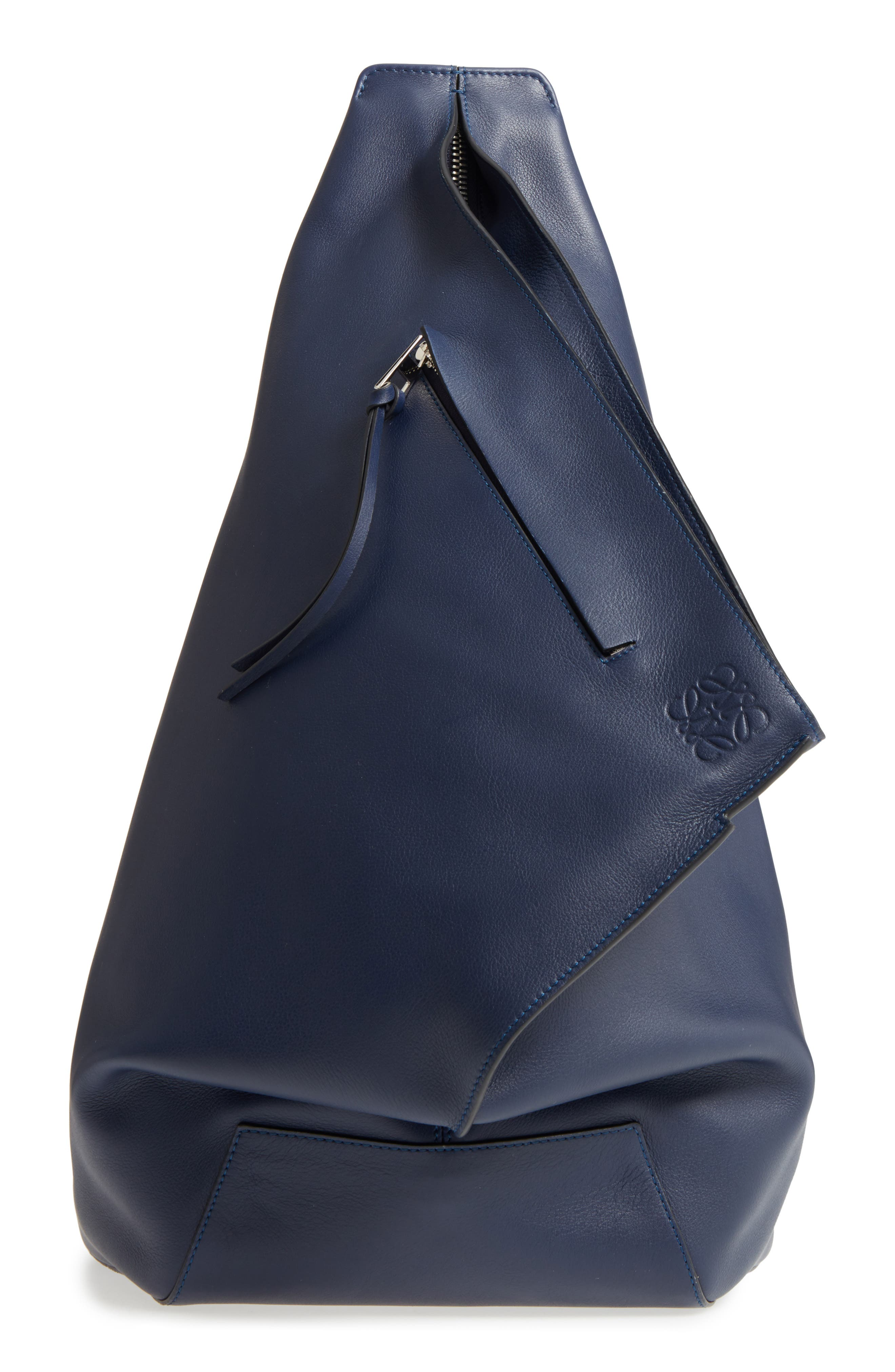 Anton Leather Sling Pack,                         Main,                         color, Navy Blue