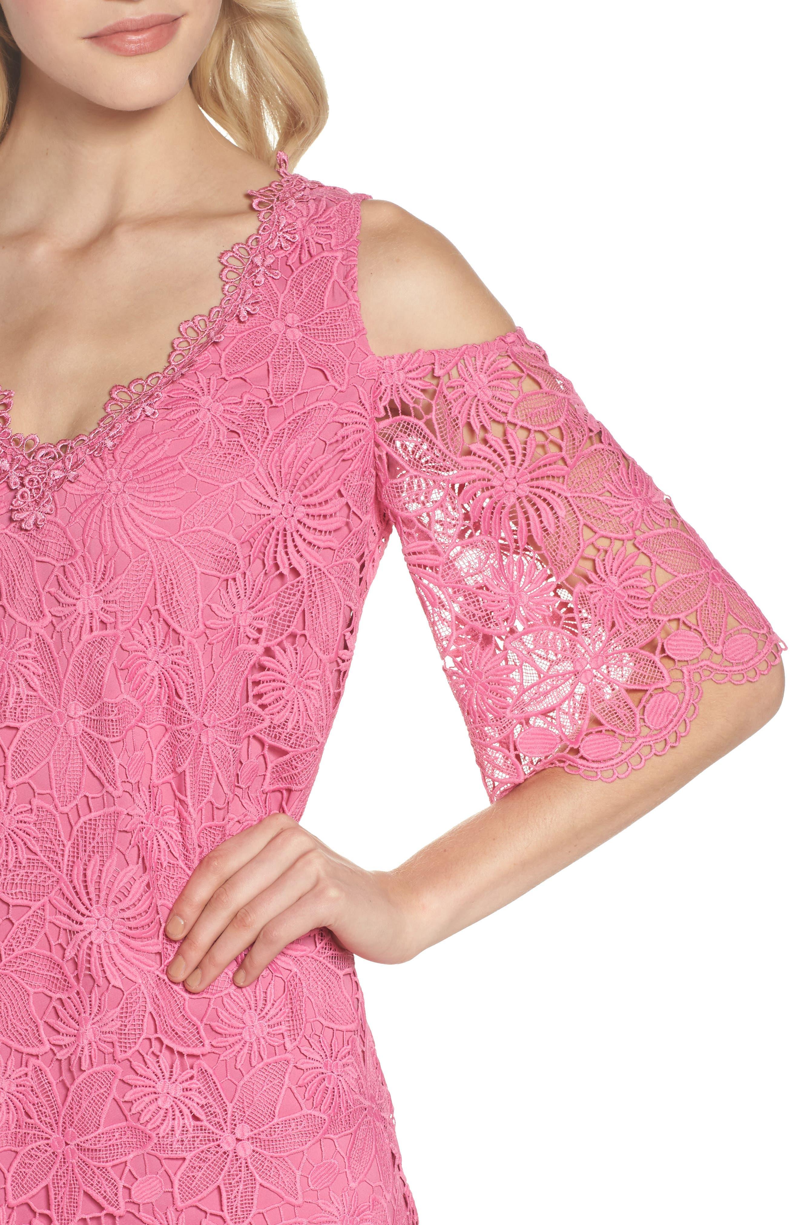 Edna Cold Shoulder Lace Dress,                             Alternate thumbnail 4, color,                             Tulip