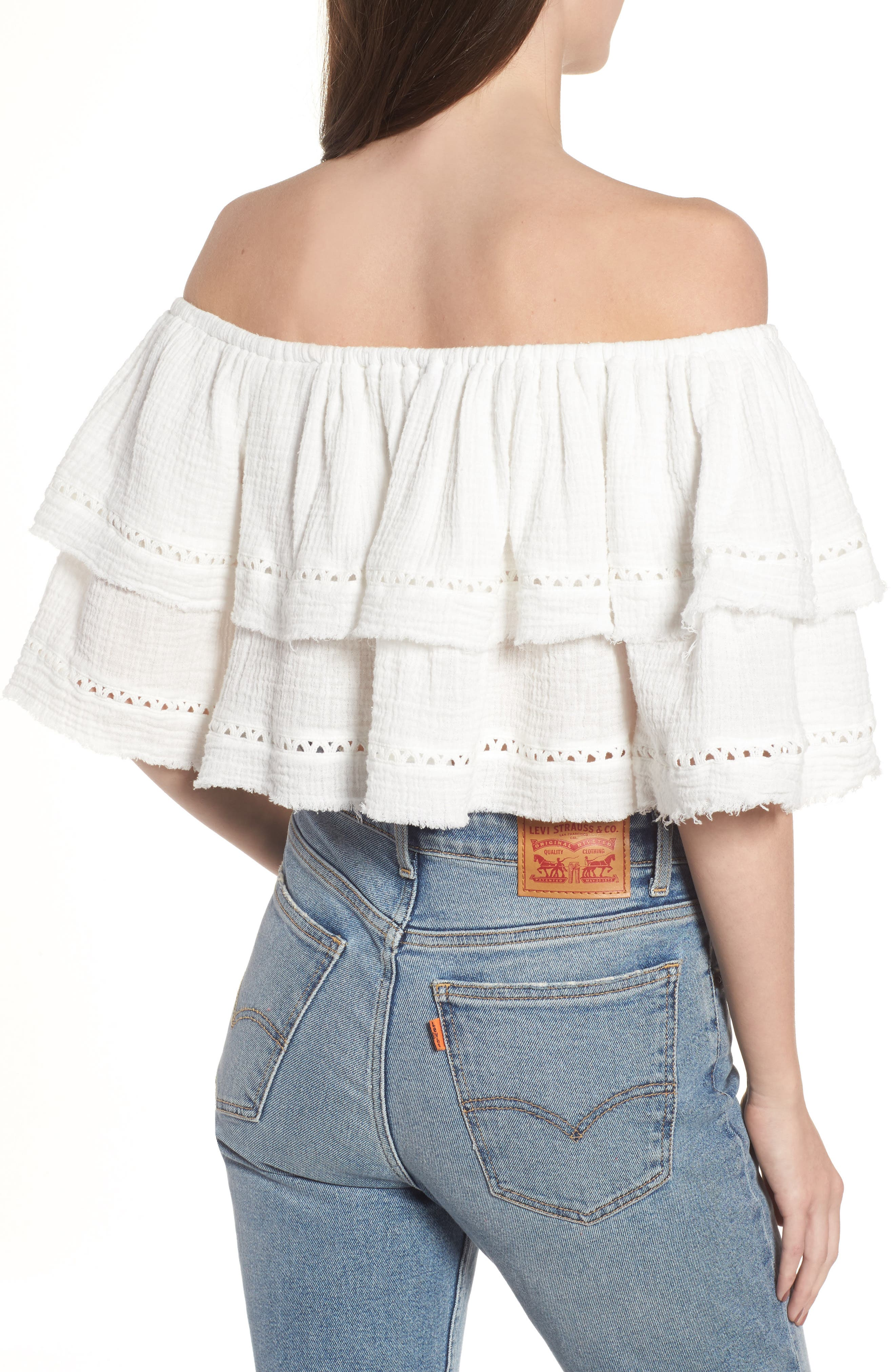 Sliding Currents Off the Shoulder Ruffle Top,                             Alternate thumbnail 3, color,                             Off White