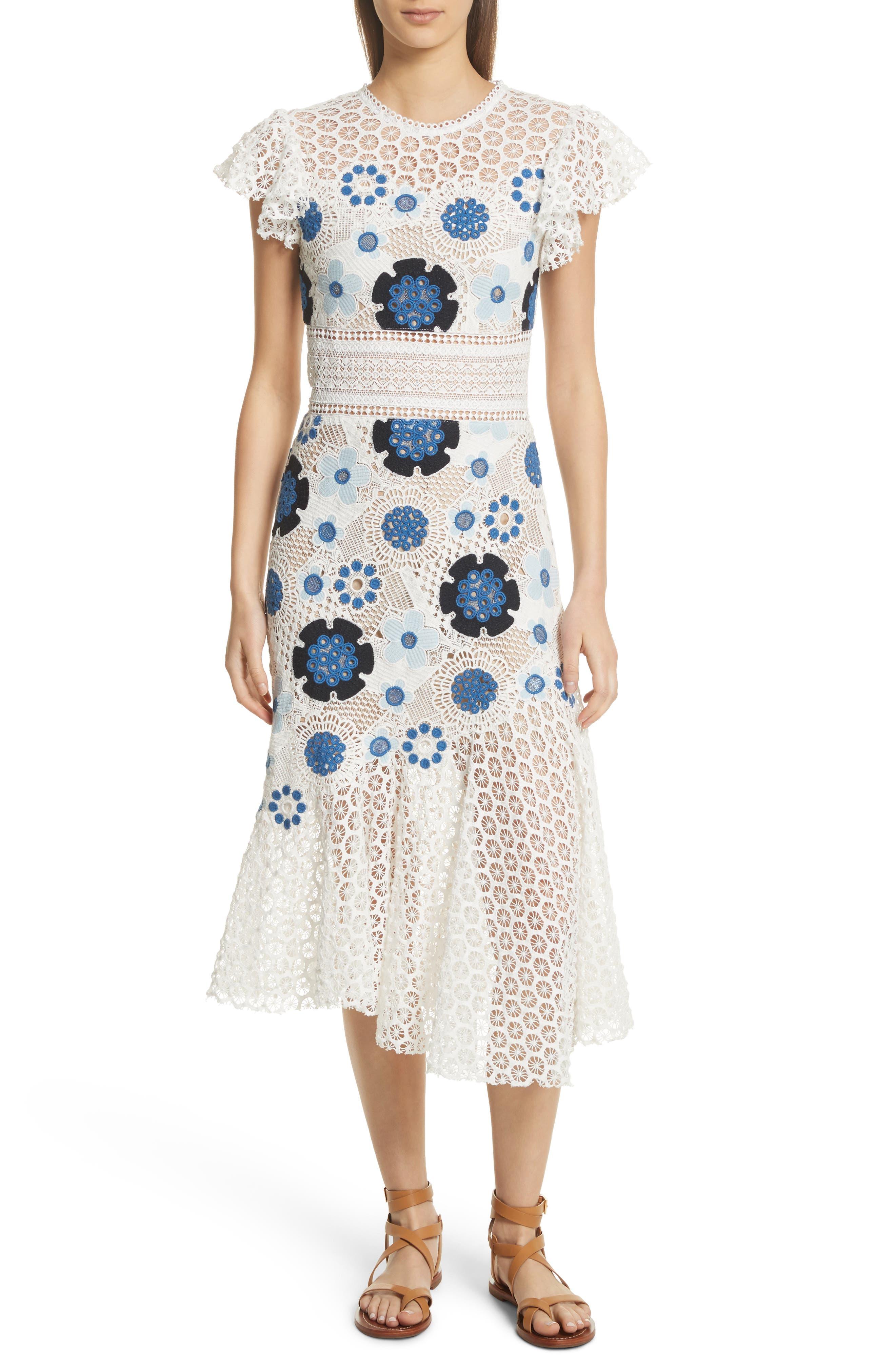 Figgy Crochet Dress,                         Main,                         color, Cream/ Blue Multi