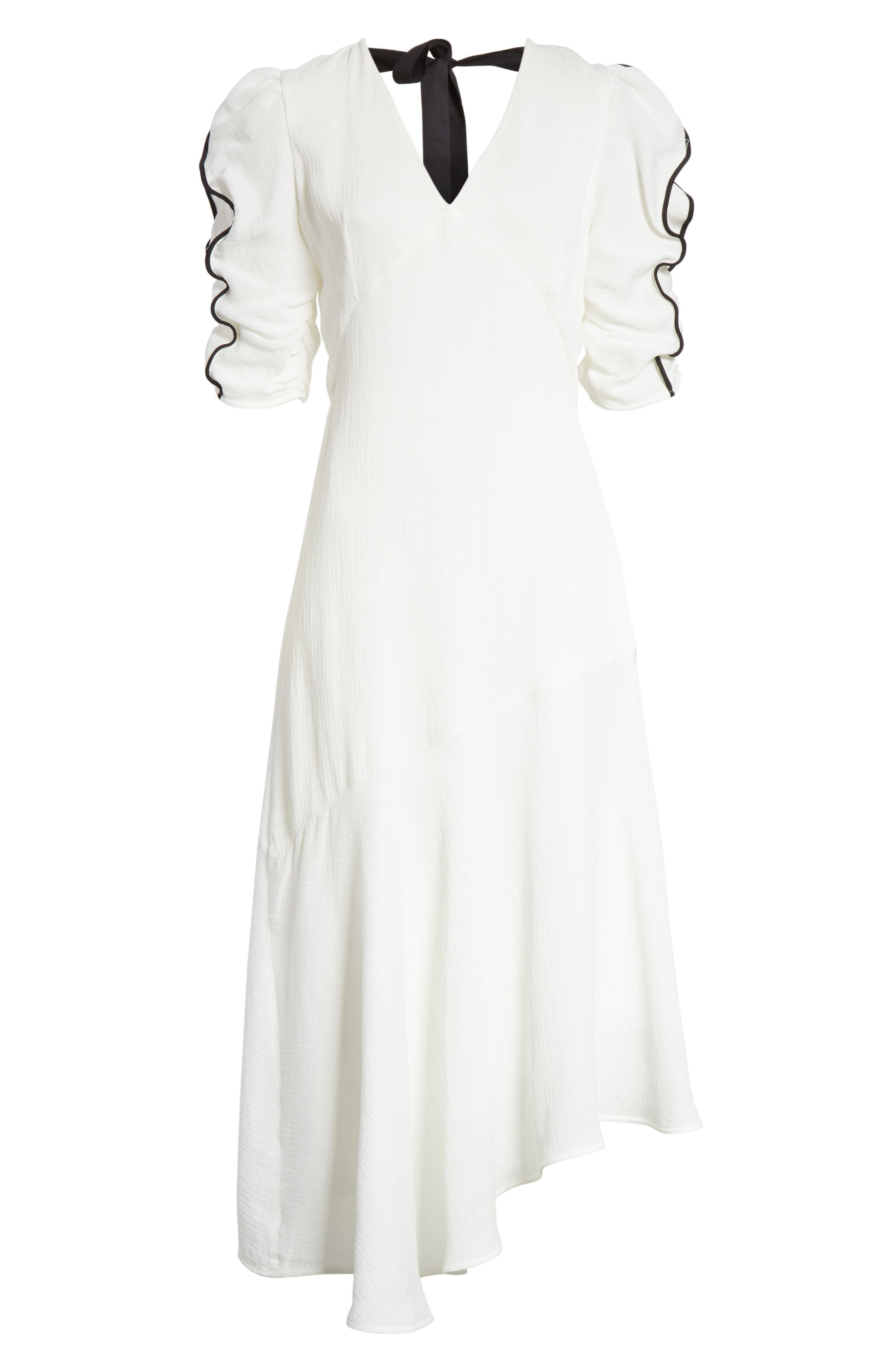 Prose & Poetry Shirley Ruffle Sleeve Midi Dress,                             Alternate thumbnail 6, color,                             Alabaster