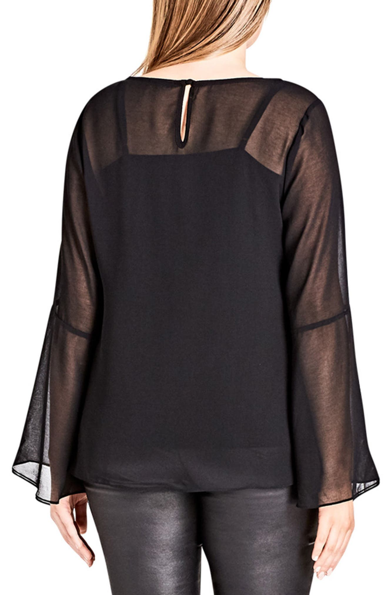 Charm Sleeve Top,                             Alternate thumbnail 2, color,                             Black