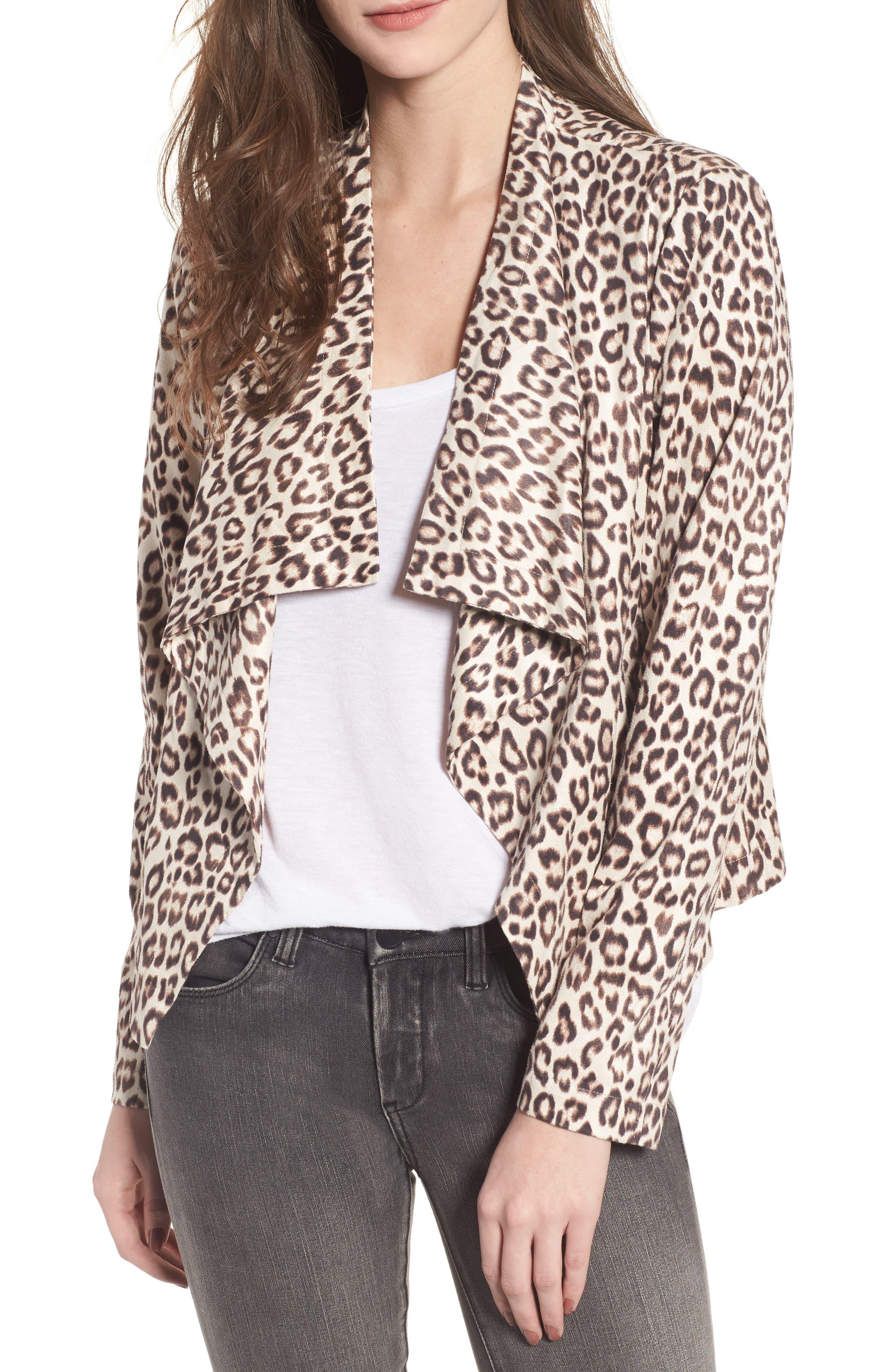 Aleah Leopard Print Faux Suede Drape Front Jacket,                         Main,                         color, Light Tan