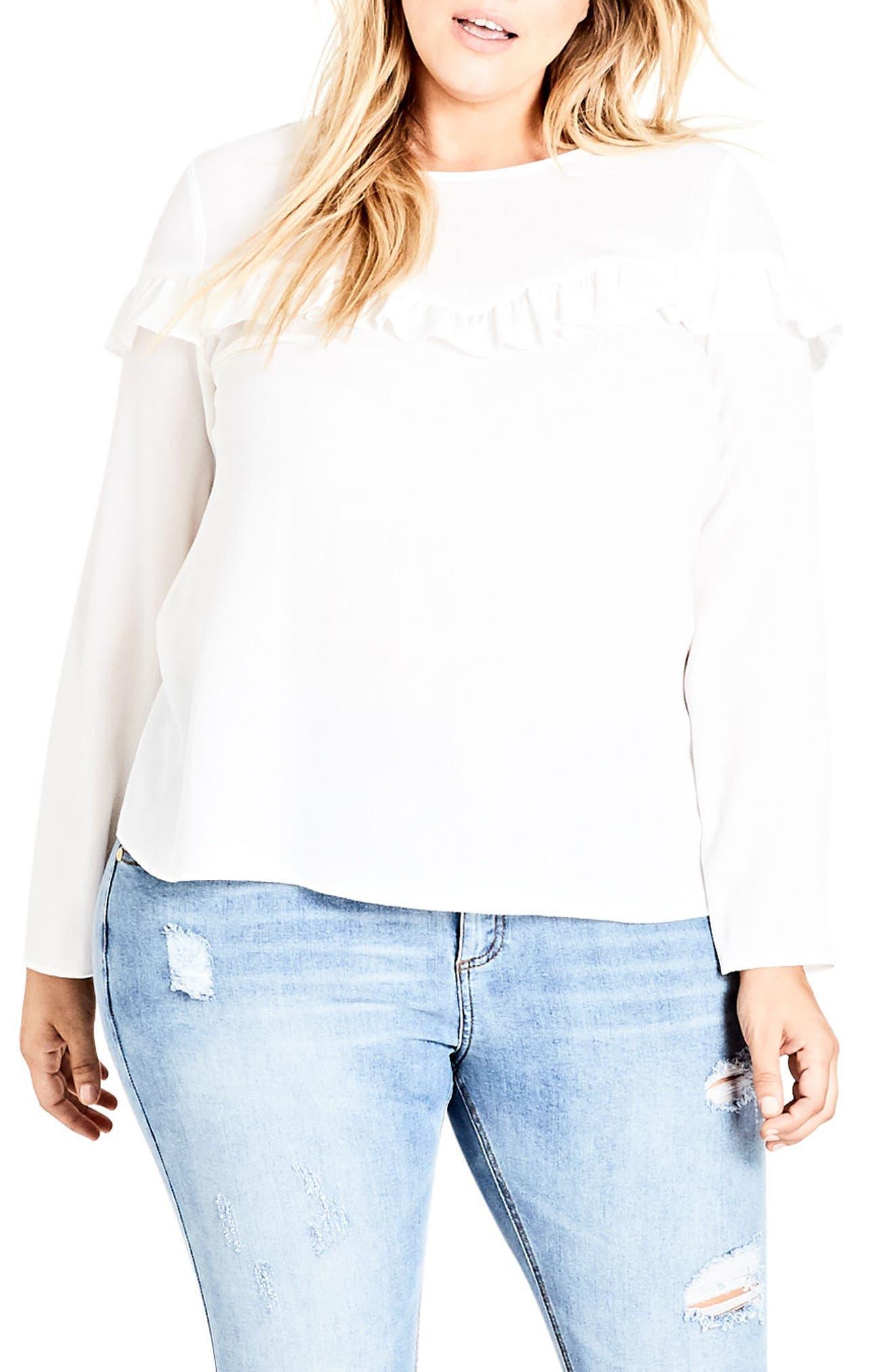Alternate Image 1 Selected - City Chic Stripe Ruffle Shirt (Plus Size)