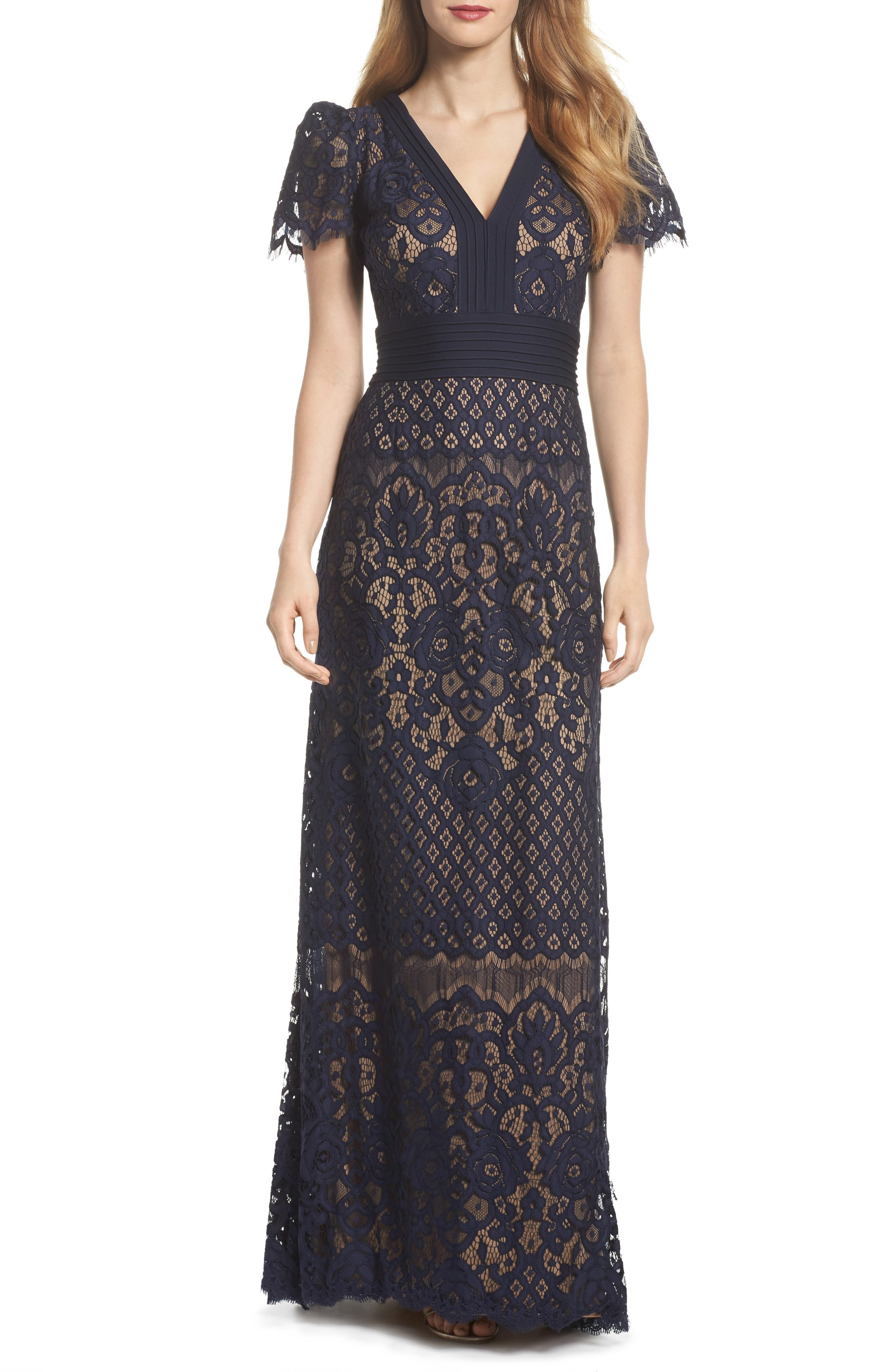 Pintuck Detail Lace Gown,                             Main thumbnail 1, color,                             Navy/ Nude