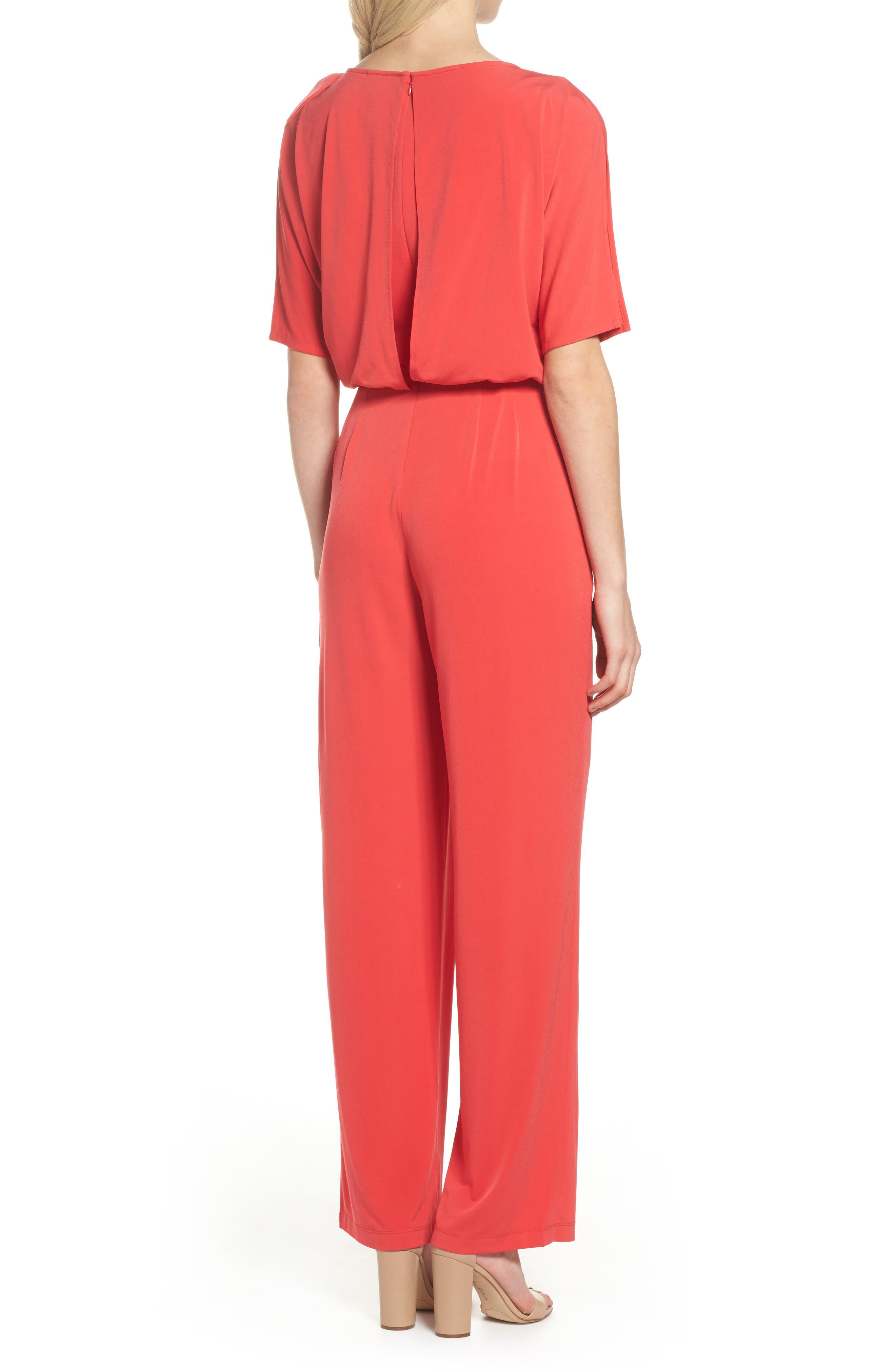 Crepe Split Sleeve Jumpsuit,                             Alternate thumbnail 2, color,                             Red