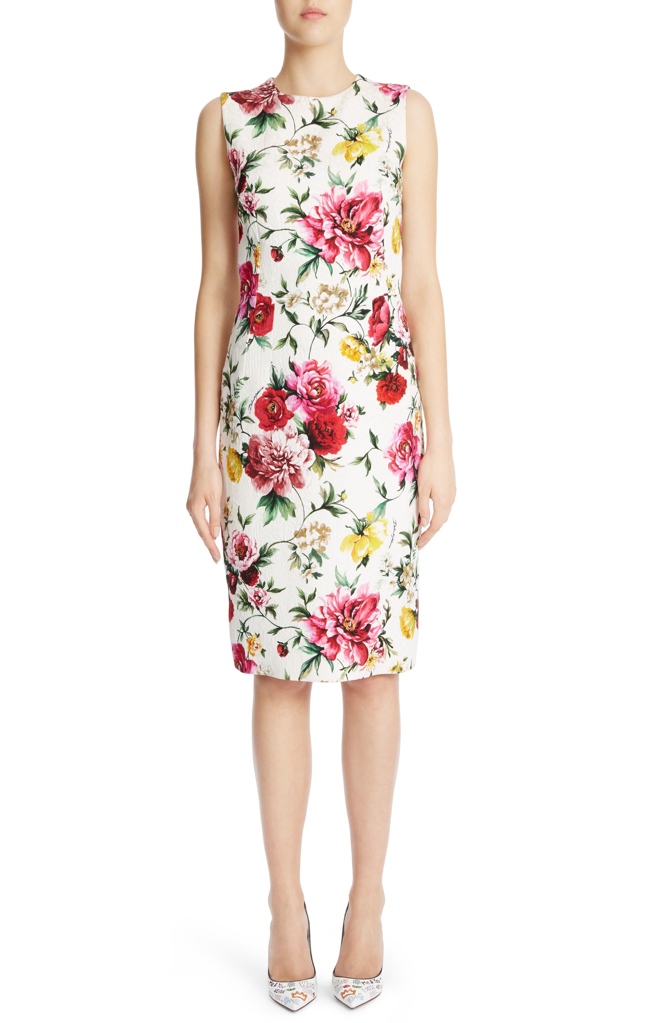 Floral Print Jacquard Sheath Dress,                         Main,                         color, White