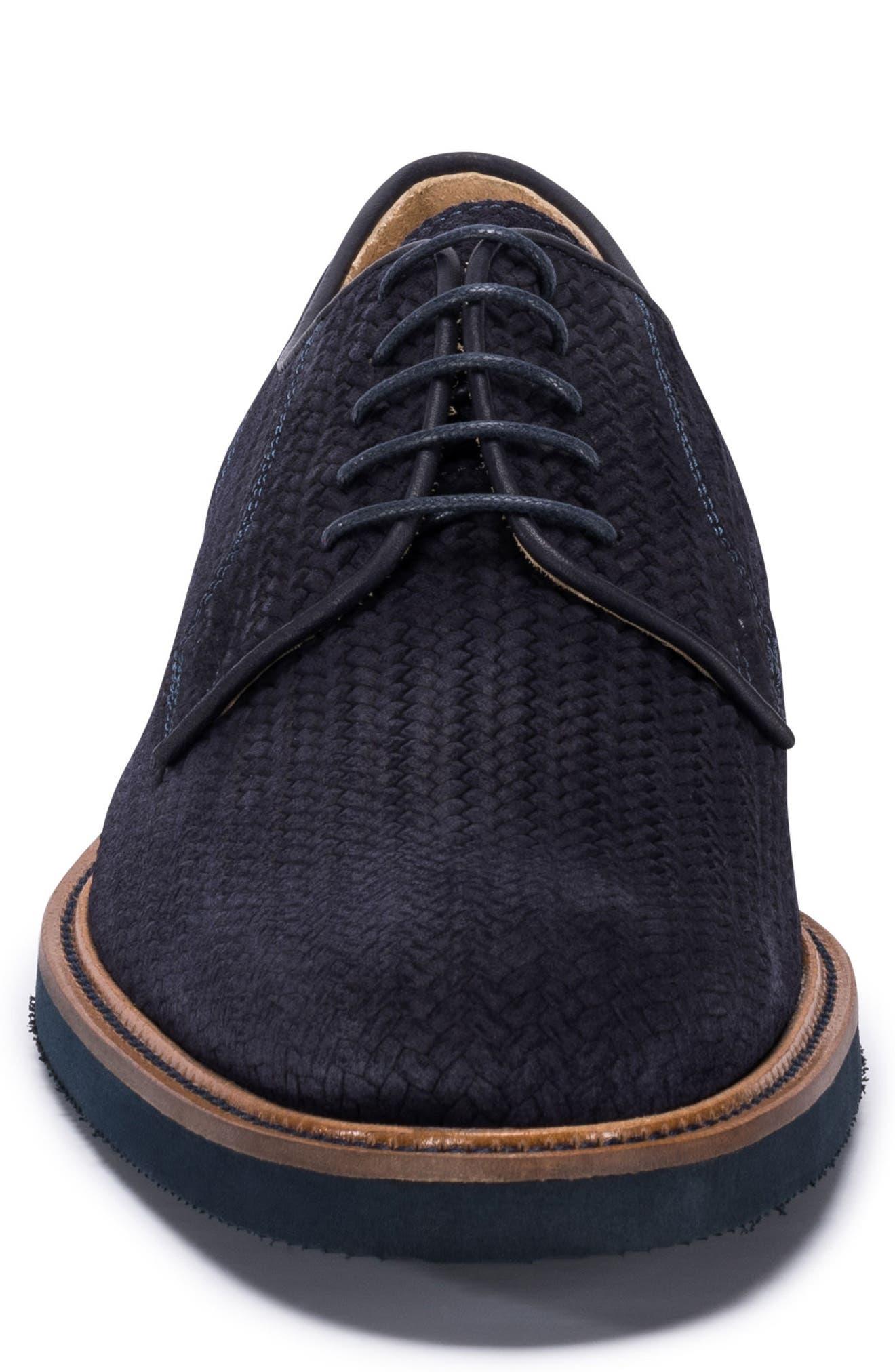 Woven Plain Toe Derby,                             Alternate thumbnail 4, color,                             Blue Suede