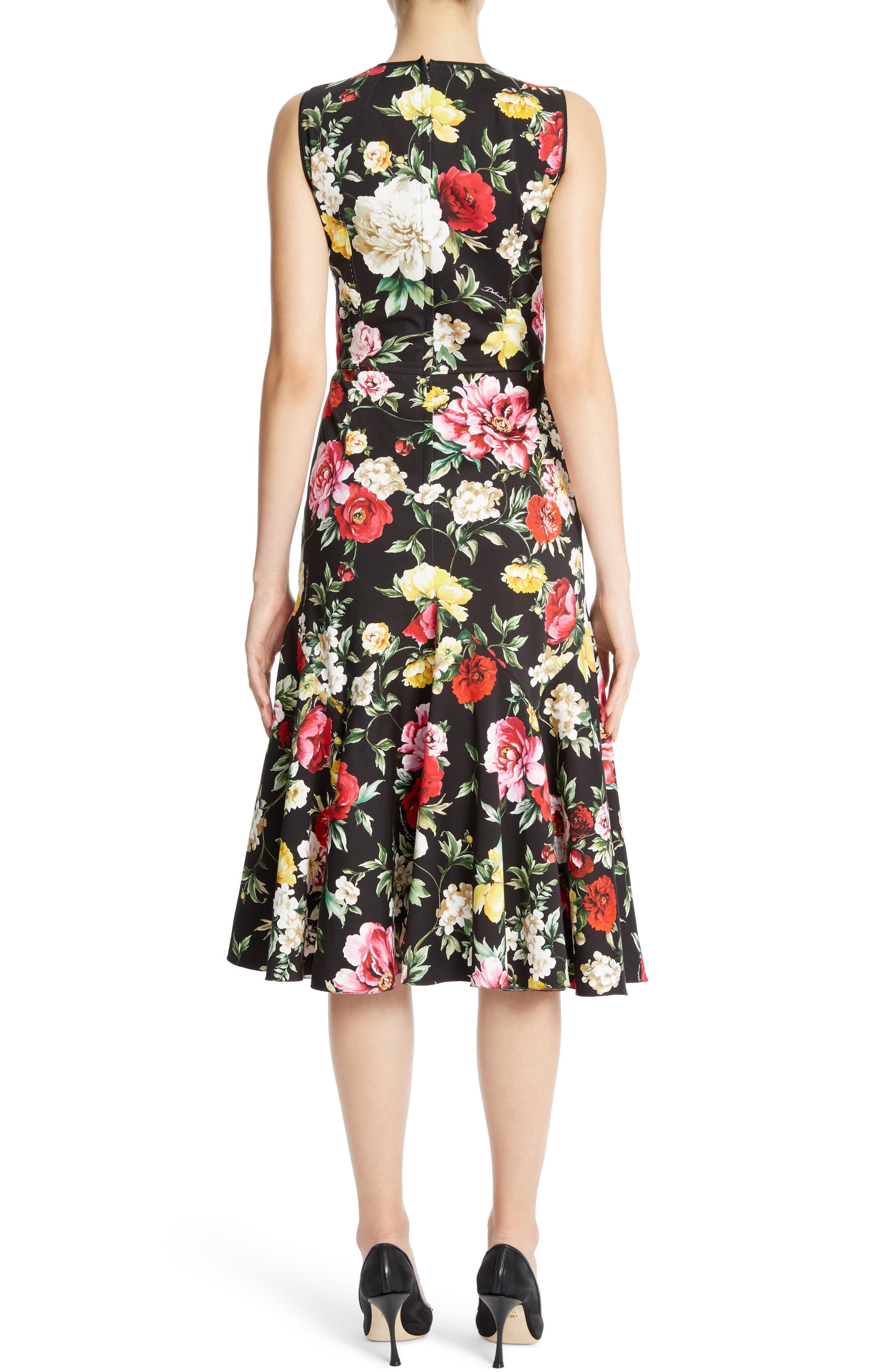 Floral Print Flare Hem Dress,                             Alternate thumbnail 2, color,                             Black
