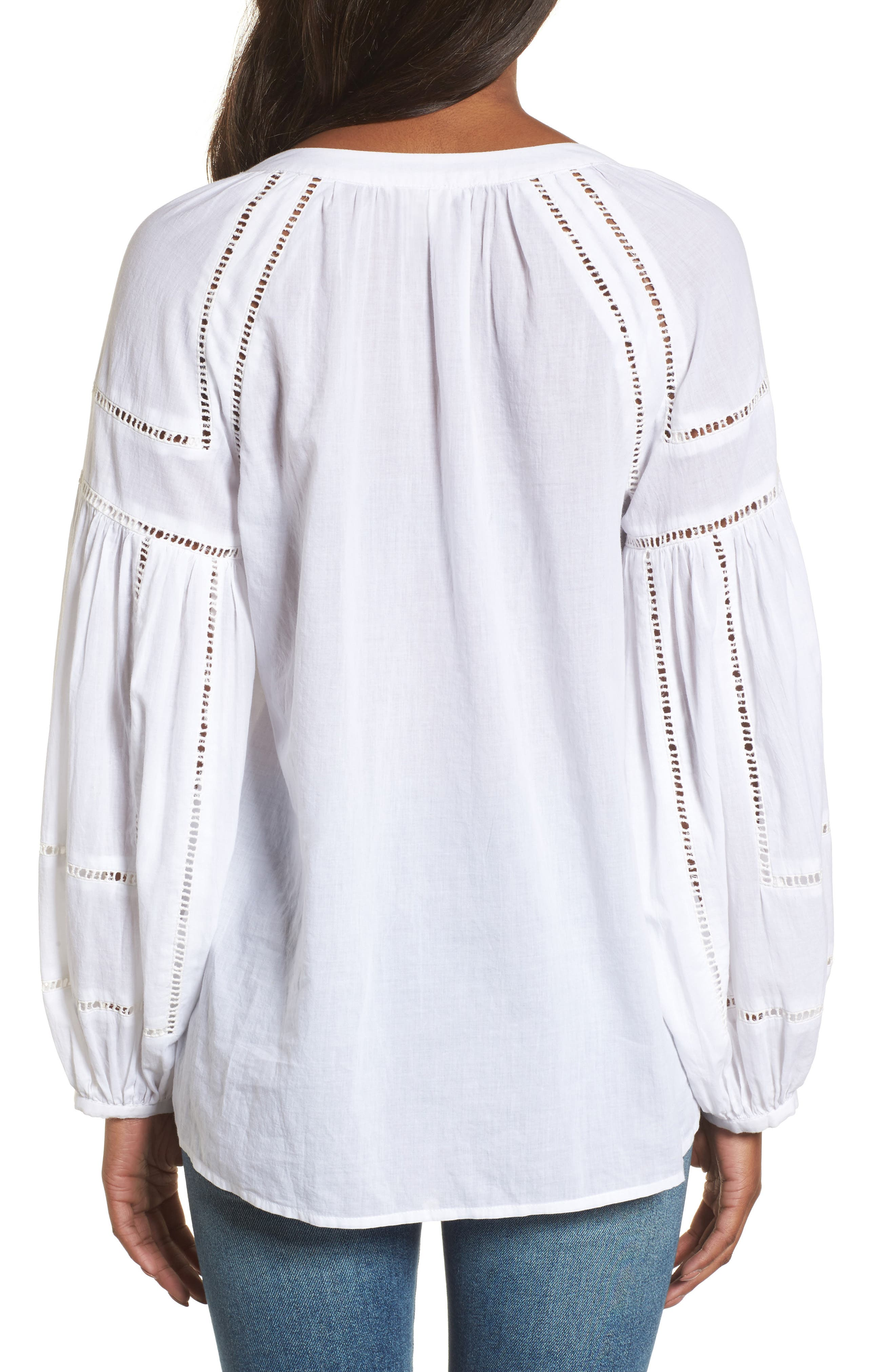 Embroidered Peasant Sleeve Top,                             Alternate thumbnail 2, color,                             White