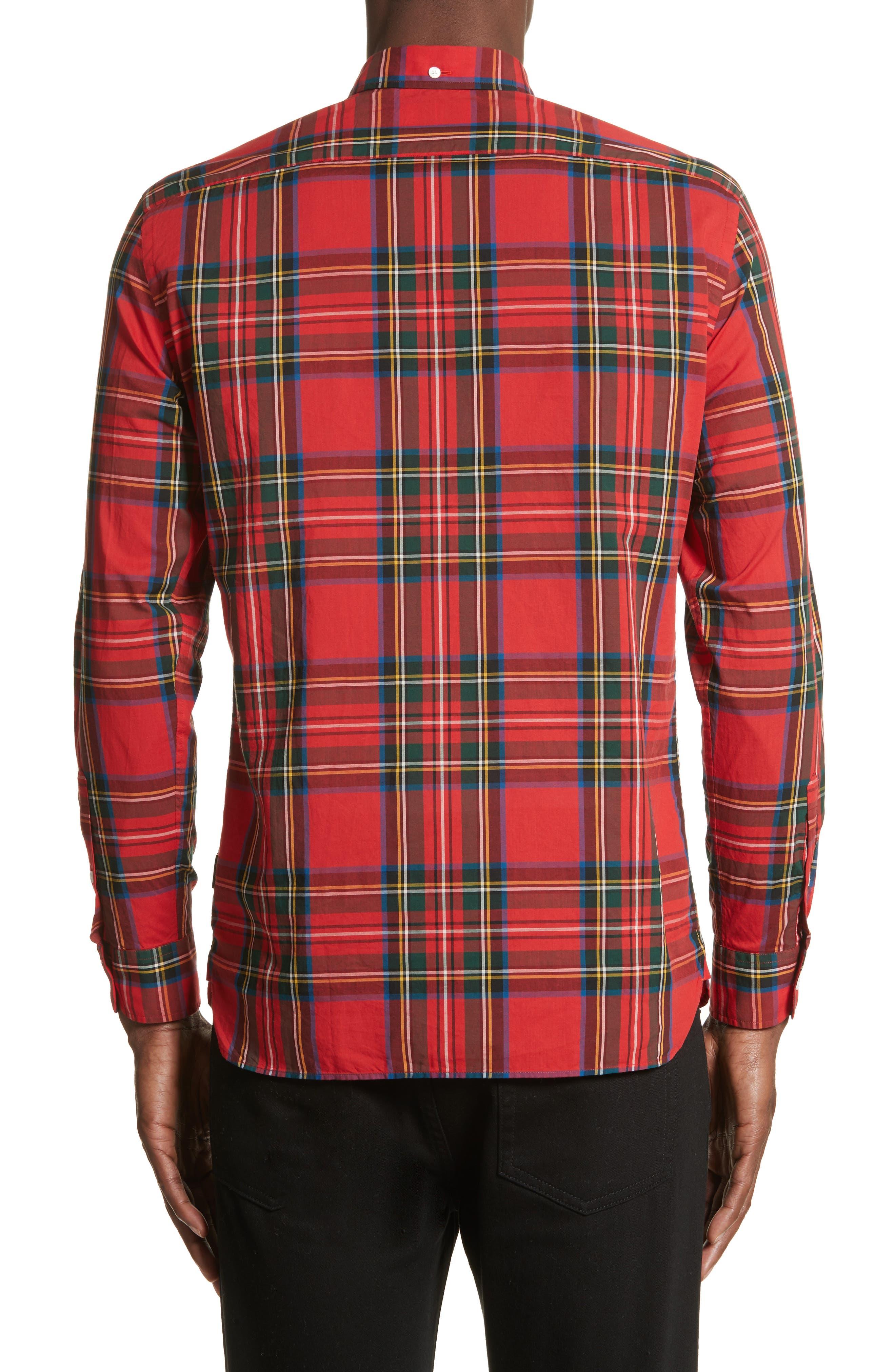 Salwick Plaid Sport Shirt,                             Alternate thumbnail 2, color,                             Bright Red