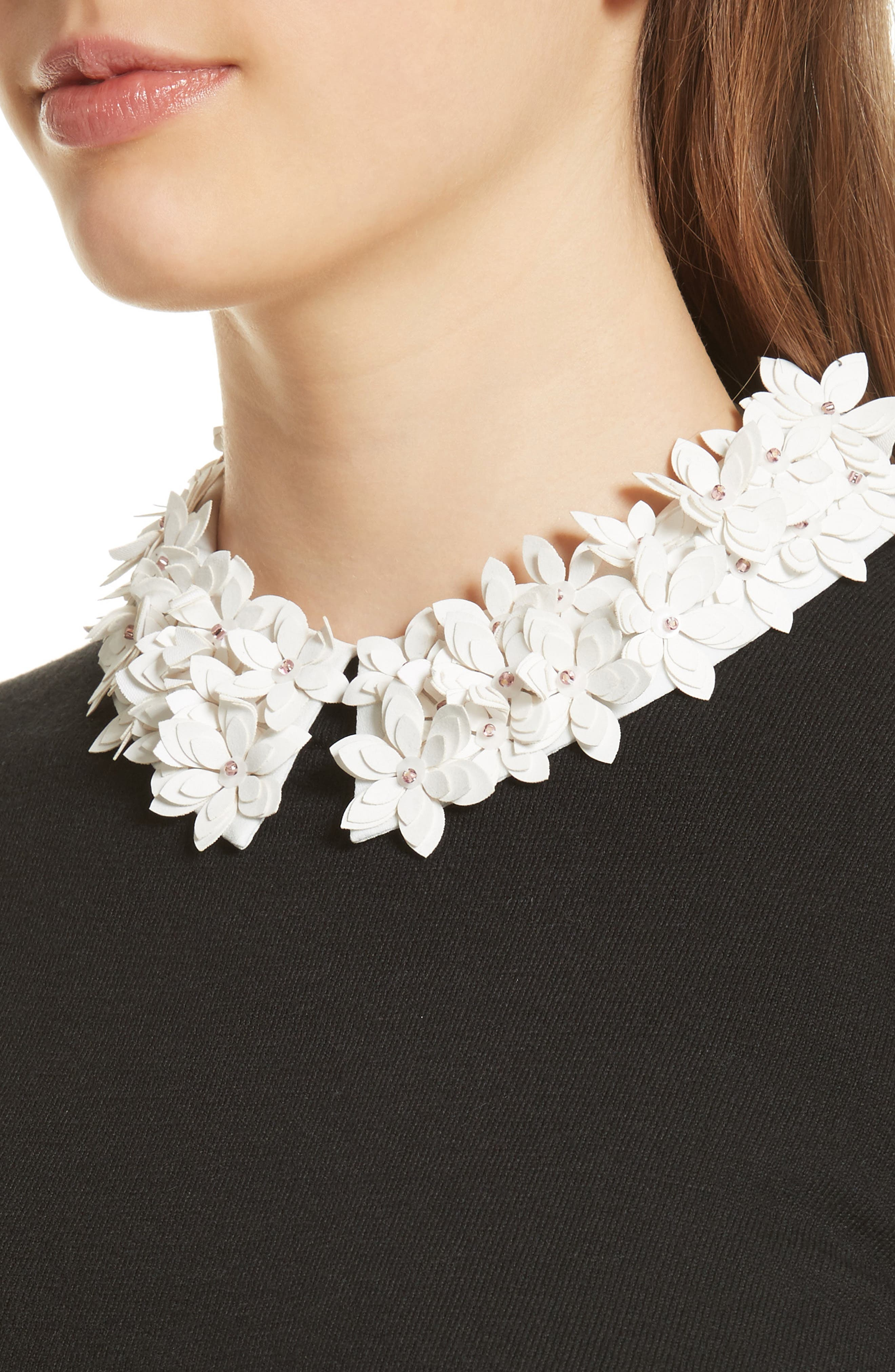 Floral Collar Sweater,                             Alternate thumbnail 4, color,                             Black
