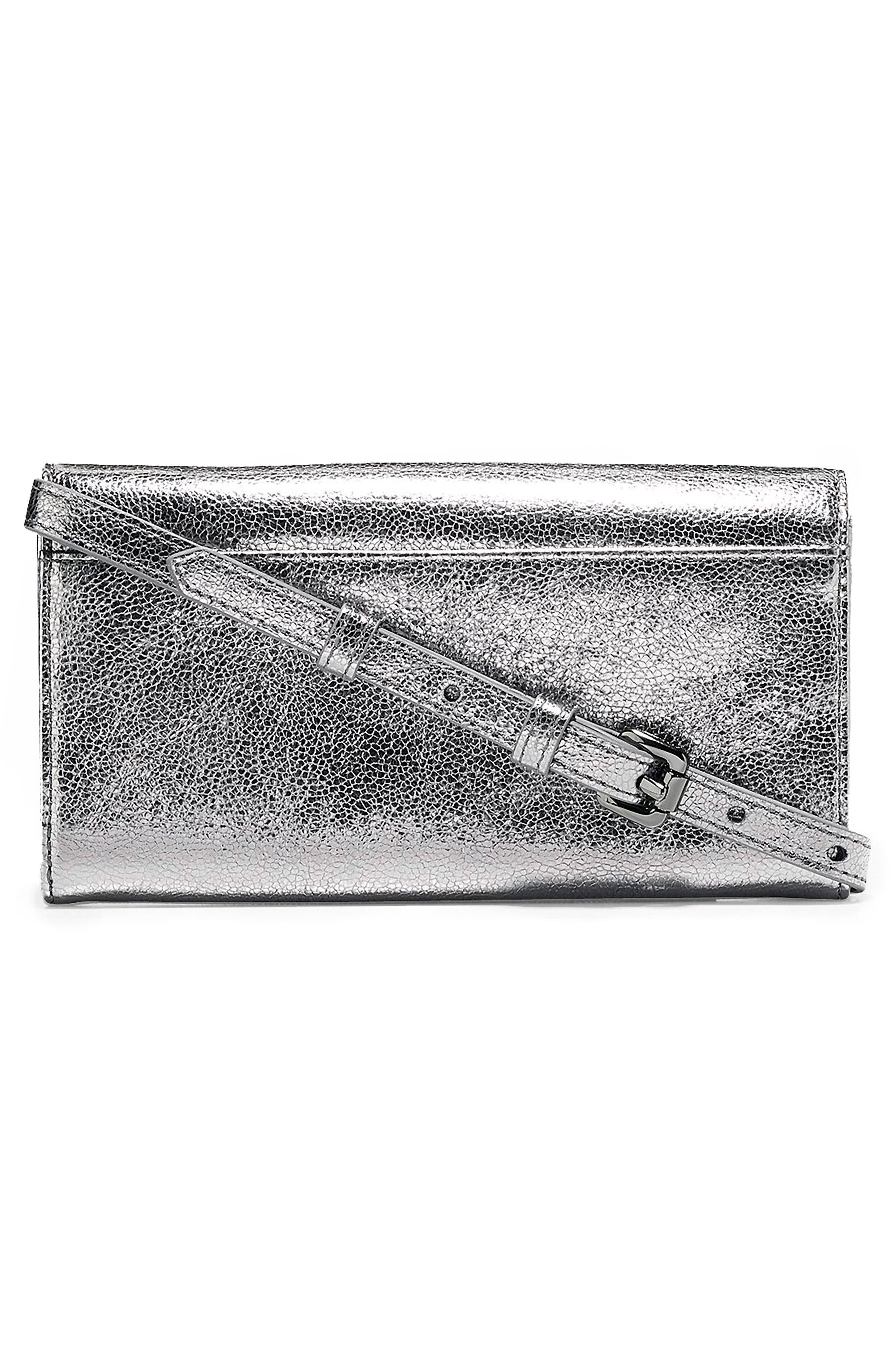 Marli Studded Metallic Leather Convertible Smartphone Clutch,                             Alternate thumbnail 2, color,                             Anthracite