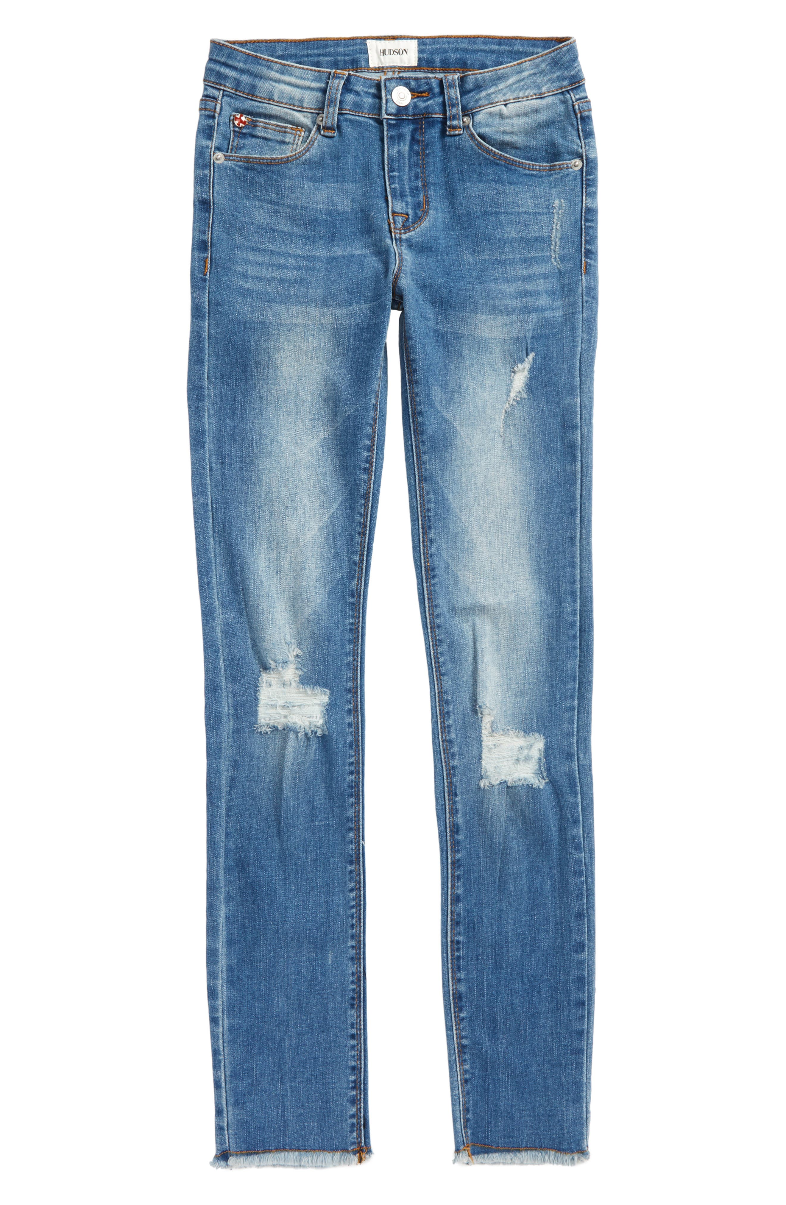 Fray Hem Skinny Jeans,                             Main thumbnail 1, color,                             Northern Lights