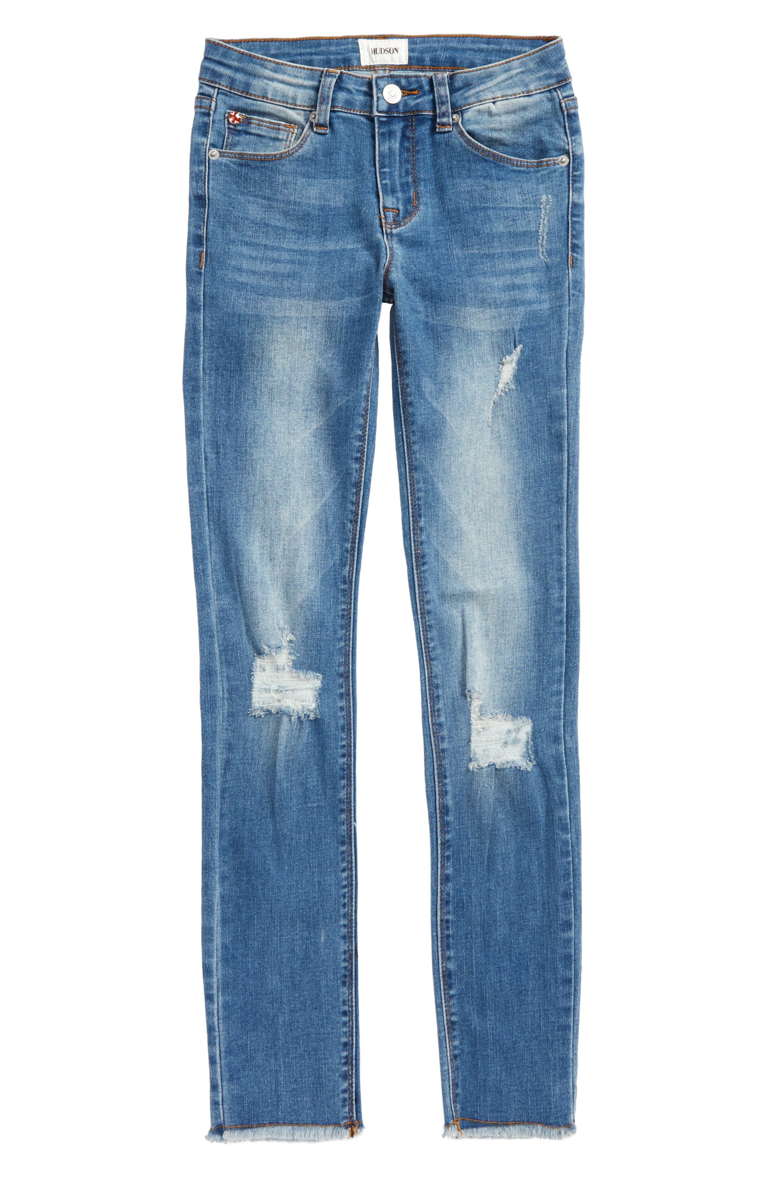 Fray Hem Skinny Jeans,                         Main,                         color, Northern Lights