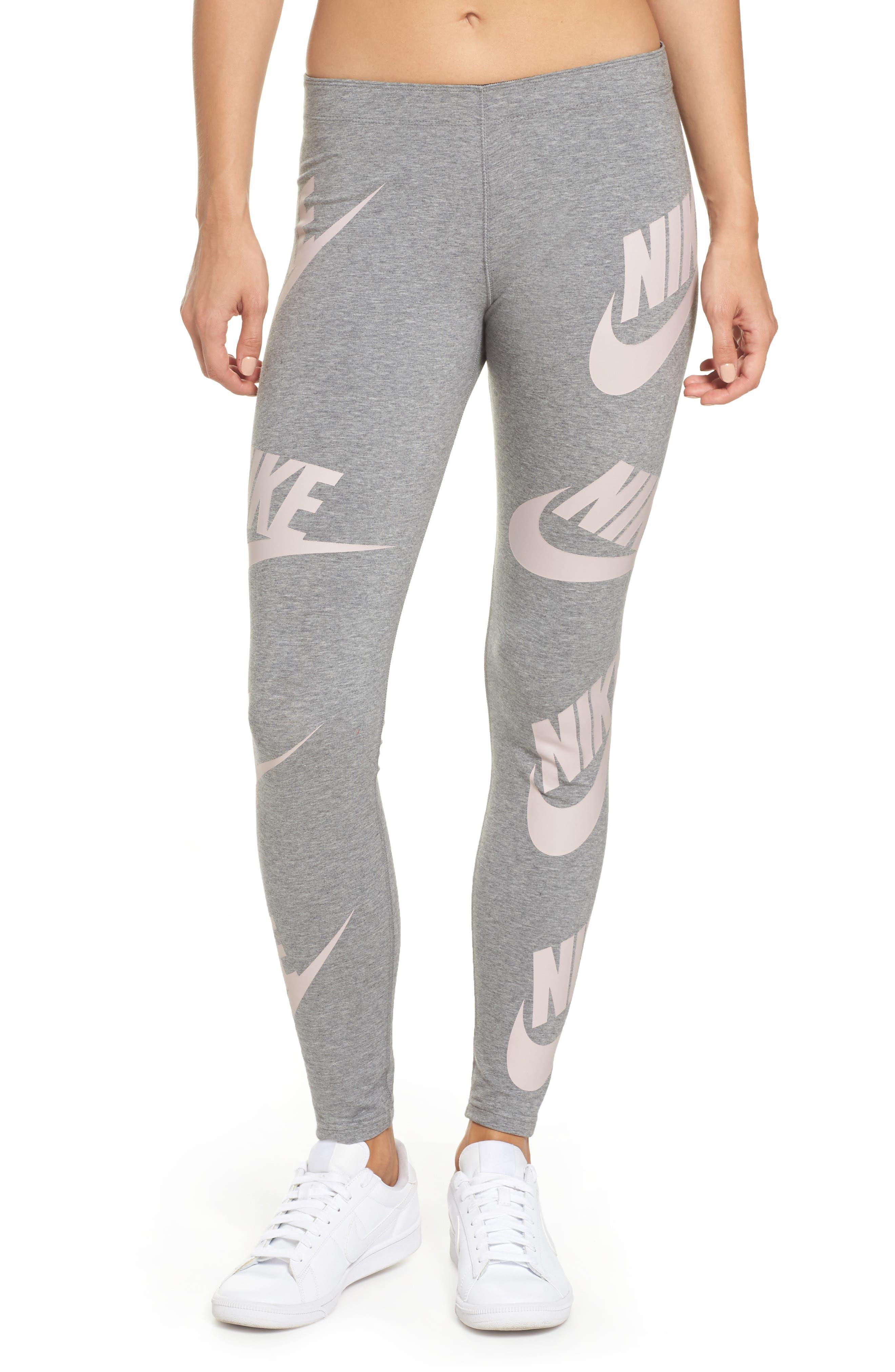 Sportswear Graphic Leggings,                         Main,                         color, Carbon Heather/Elemental Rose