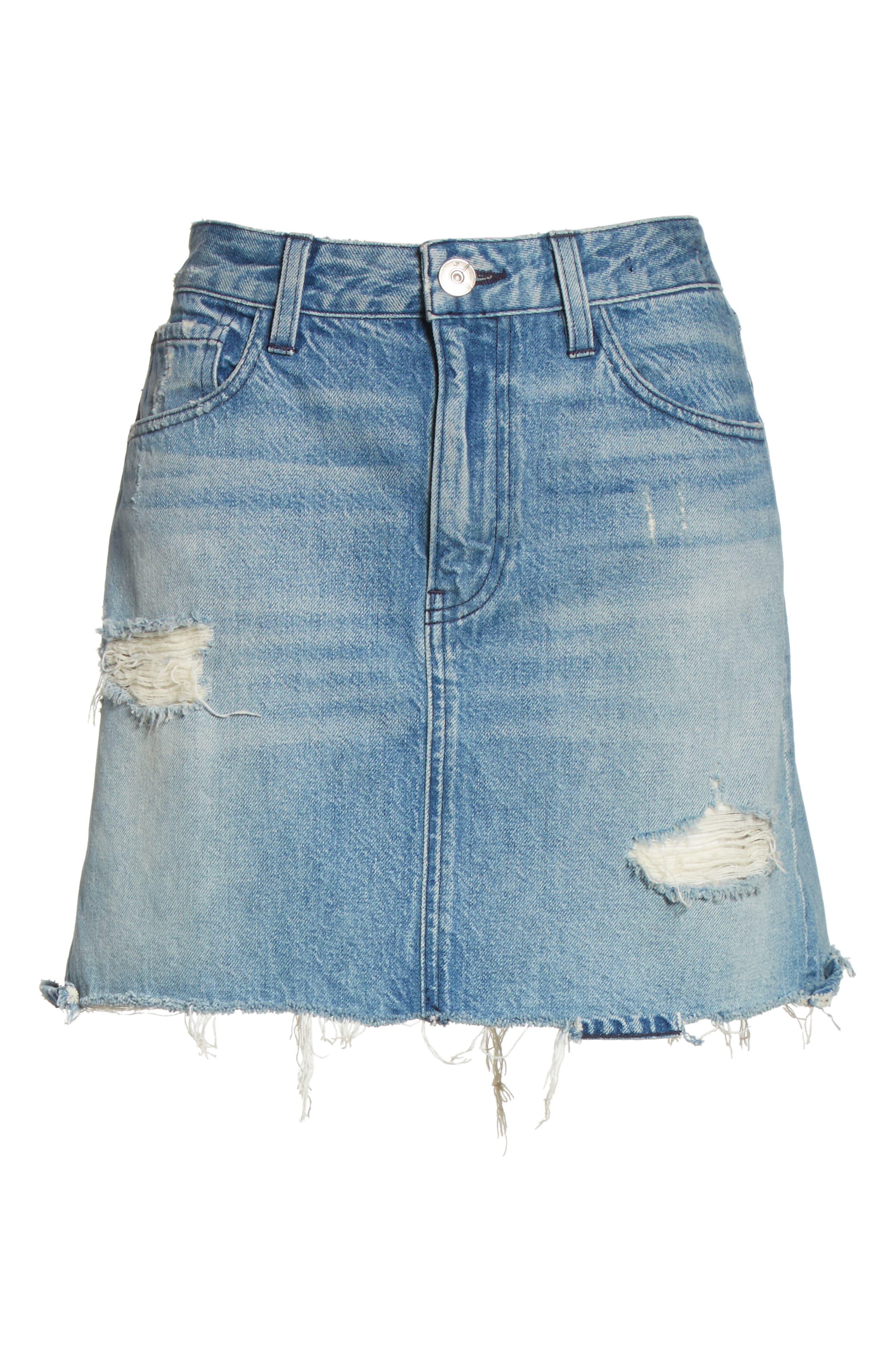 Celine Distressed Denim Skirt,                             Alternate thumbnail 6, color,                             Laz