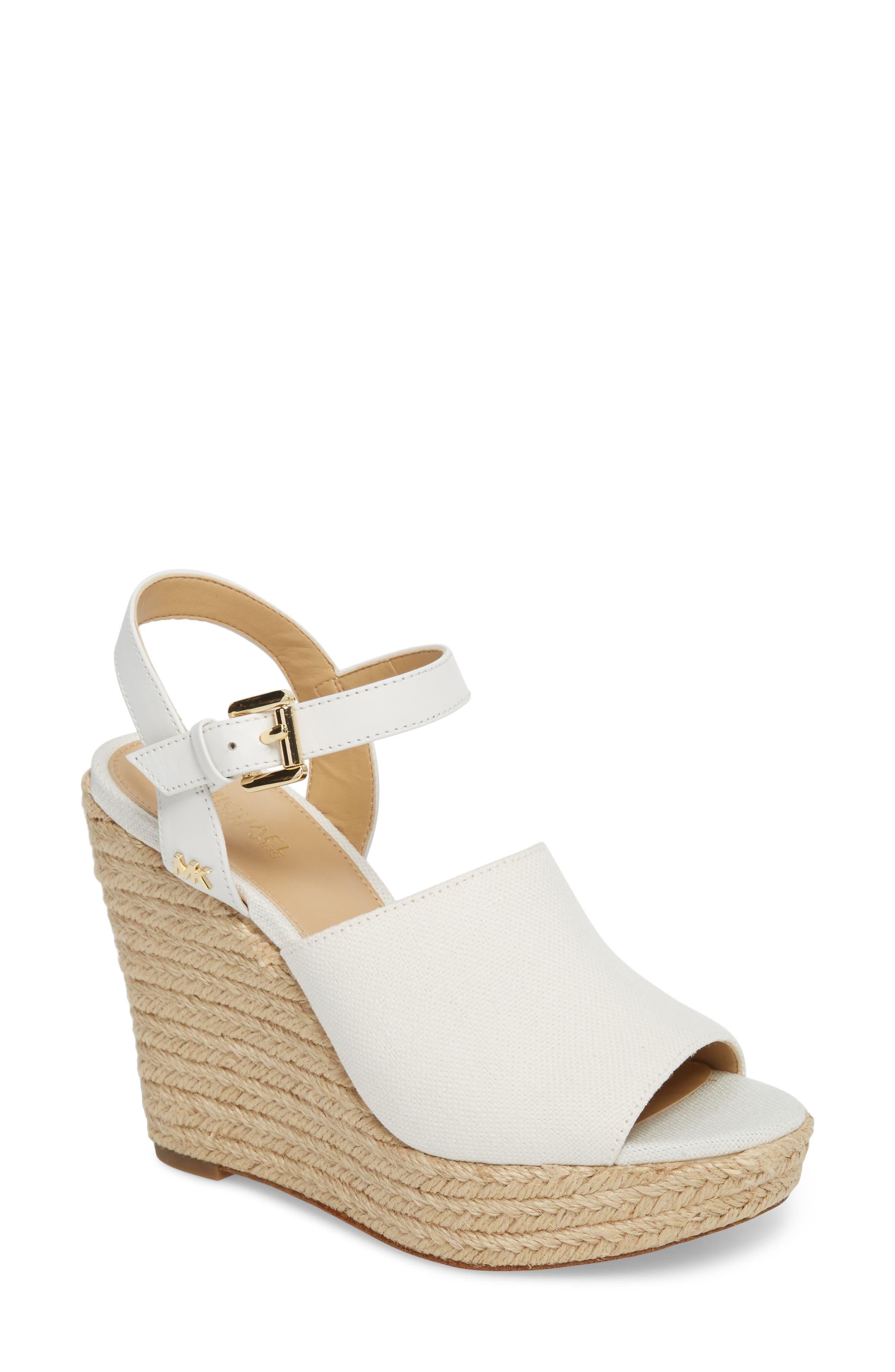 Penelope Espadrille Wedge Sandal,                         Main,                         color, Optic White Canvas