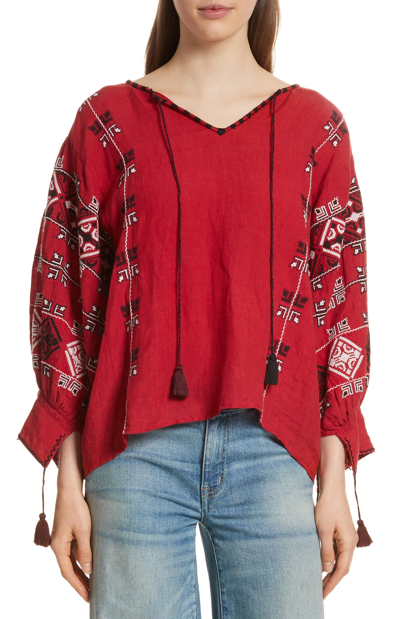 Cleo Linen Blouse,                         Main,                         color, Red