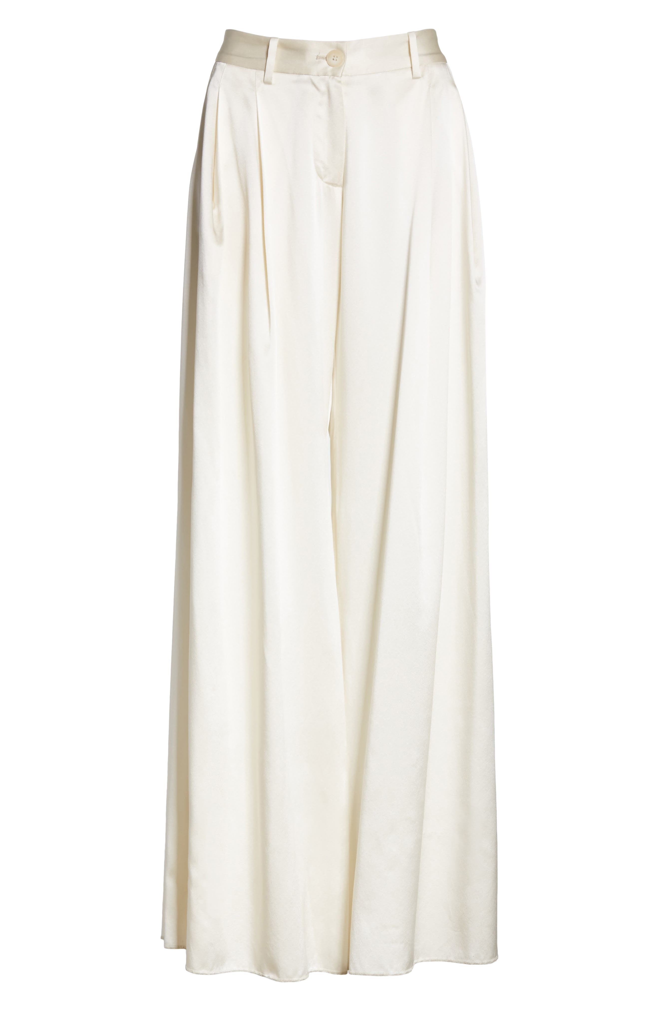 Seville Wide Leg Silk Pants,                             Alternate thumbnail 7, color,                             Ivory