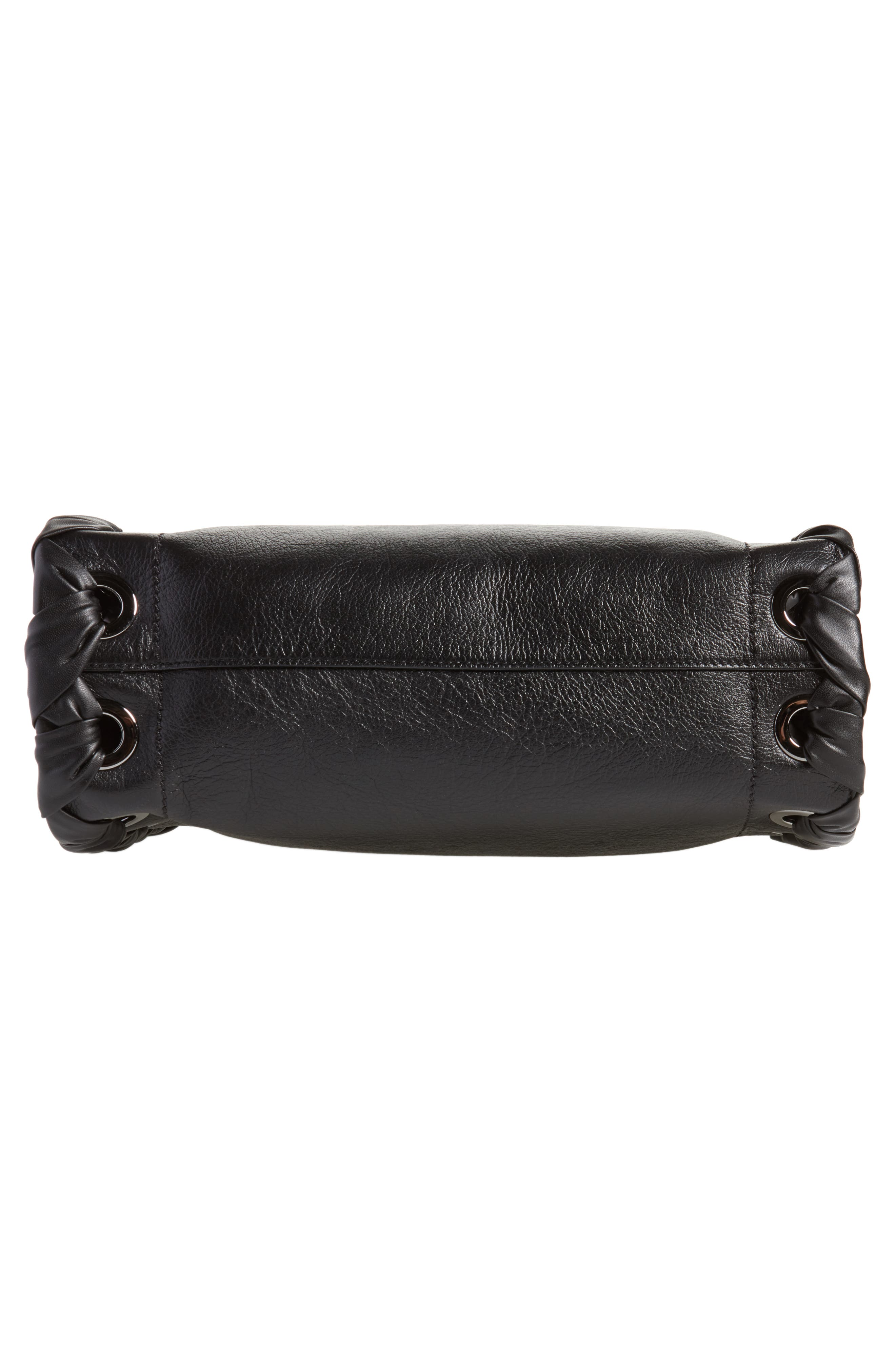 Rebel Leather Shoulder Bag,                             Alternate thumbnail 6, color,                             Black