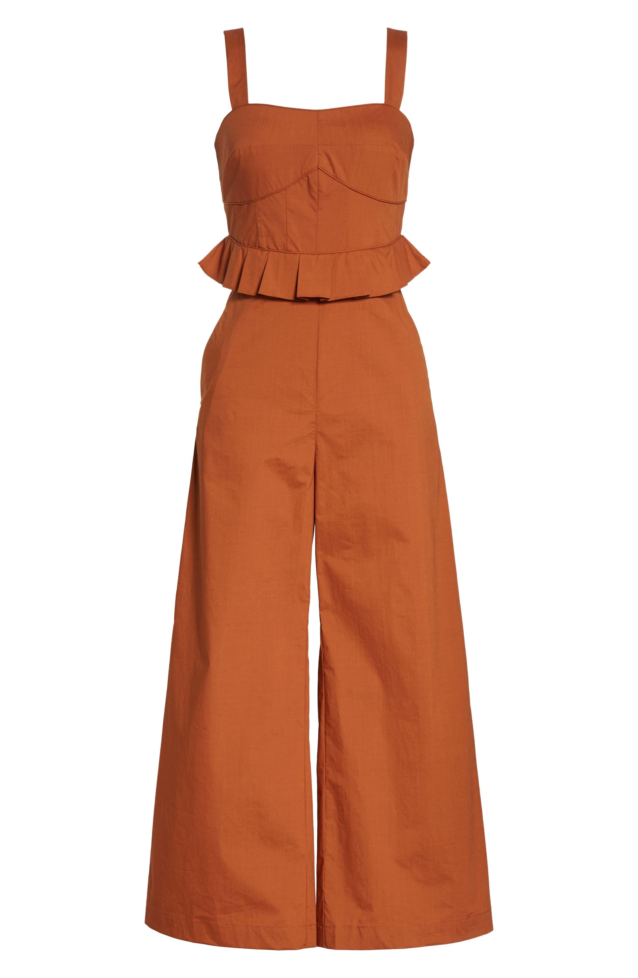 Leia Ruffle Waist Jumpsuit,                             Alternate thumbnail 6, color,                             Walnut