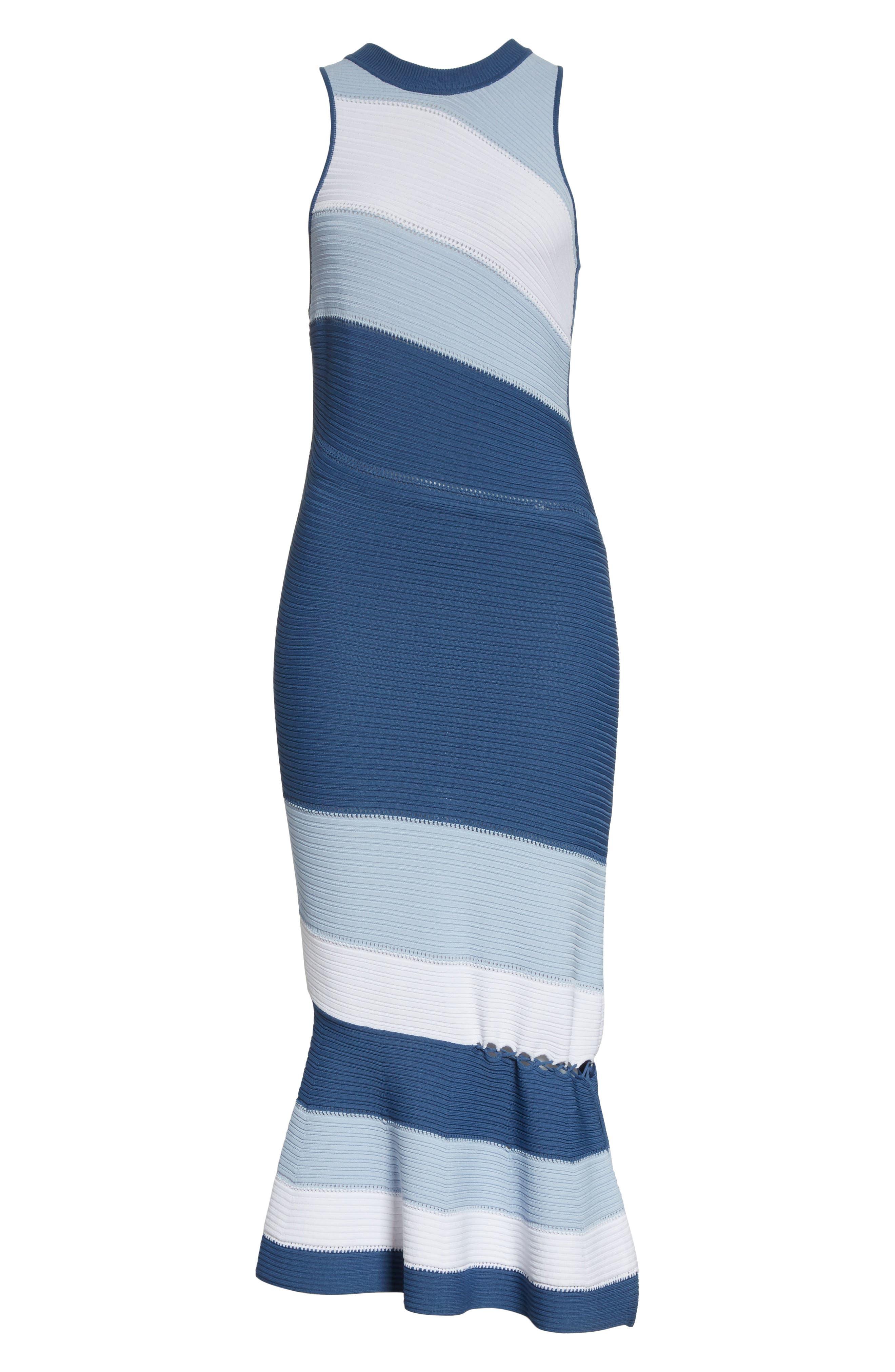 Linked Asymmetrical Dress,                             Alternate thumbnail 6, color,                             Blue Combo