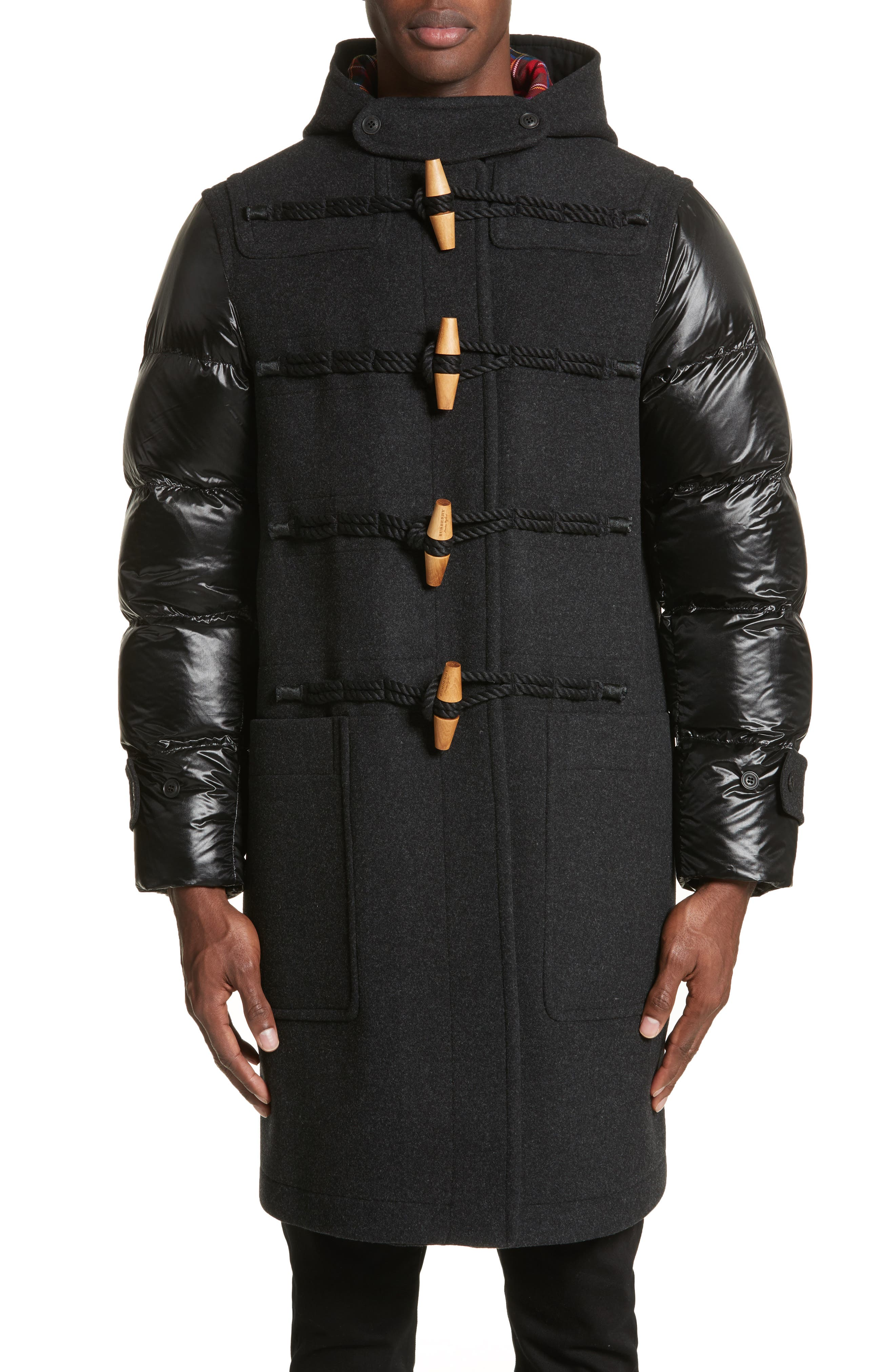 Burberry Cotterill Down Sleeve Wool Blend Duffle Coat