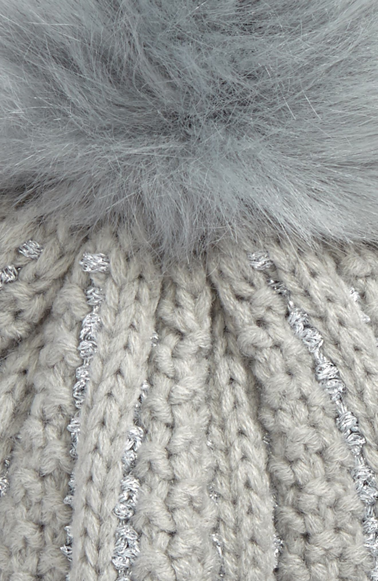 Metallic Knit Beanie with Faux Fur Pompom,                             Alternate thumbnail 2, color,                             Grey