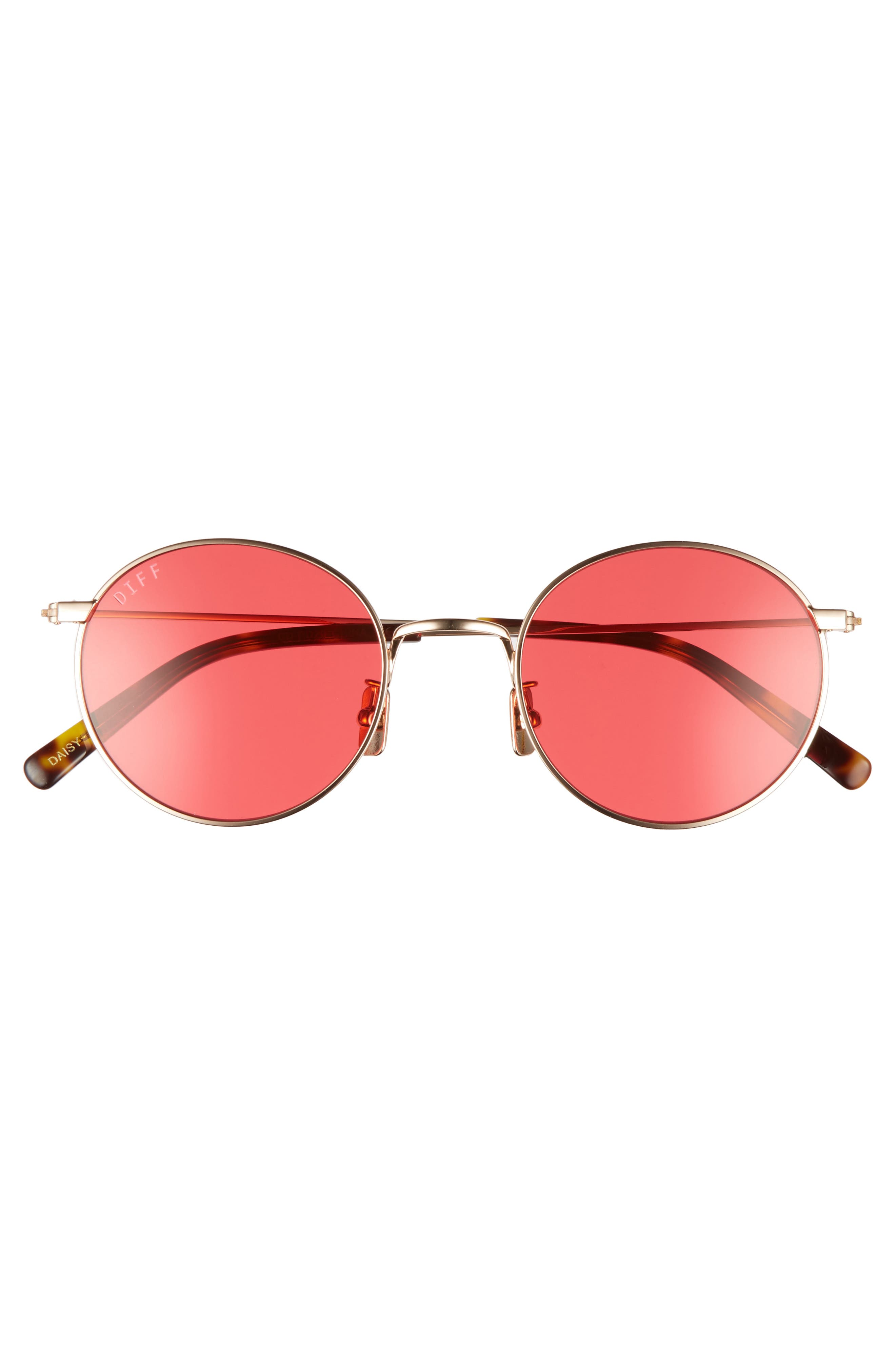 Daisy 51mm Round Sunglasses,                             Alternate thumbnail 3, color,                             Gold/ Red