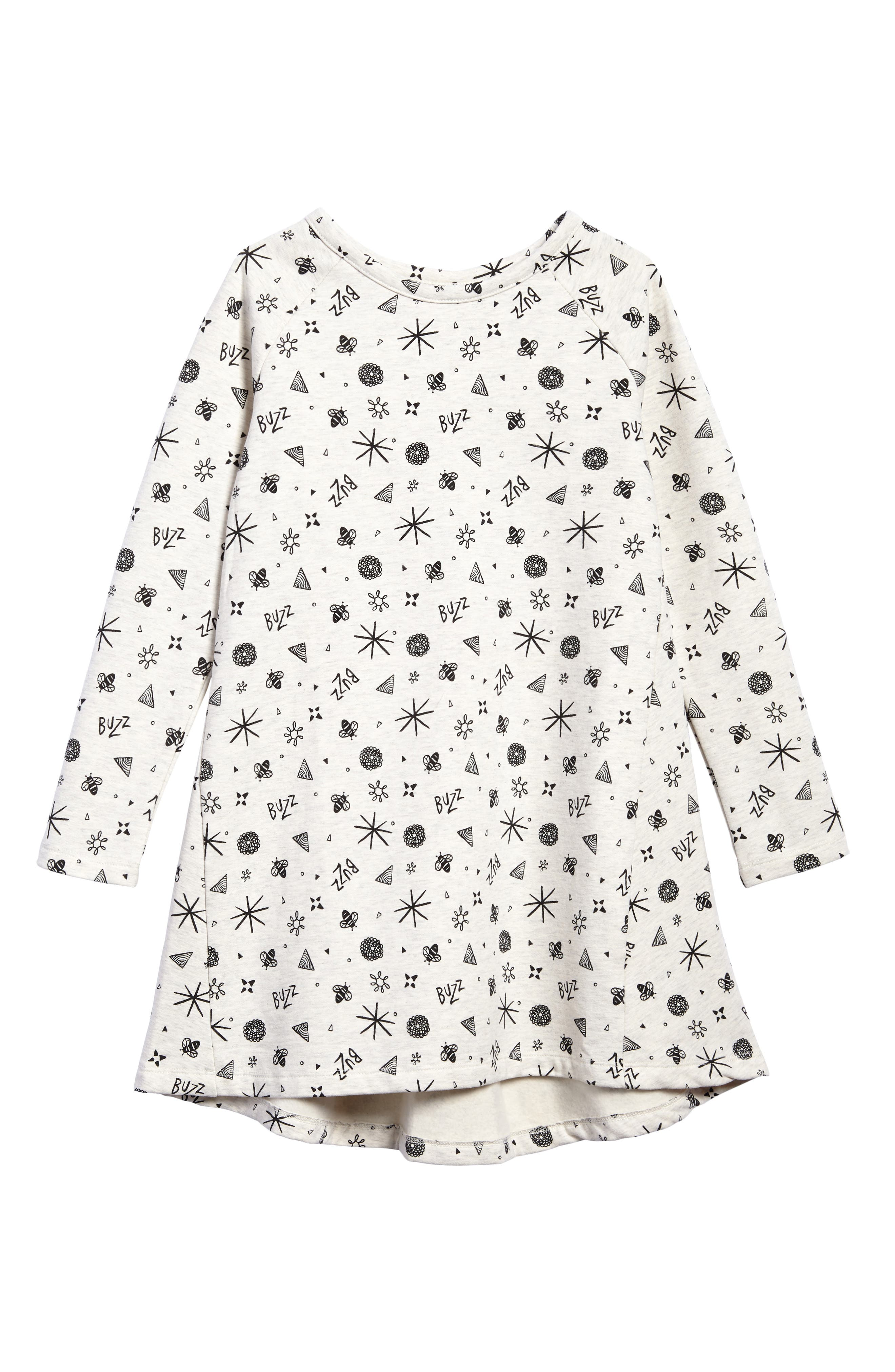 Print Fleece Dress,                         Main,                         color, Ivory Egret Bees