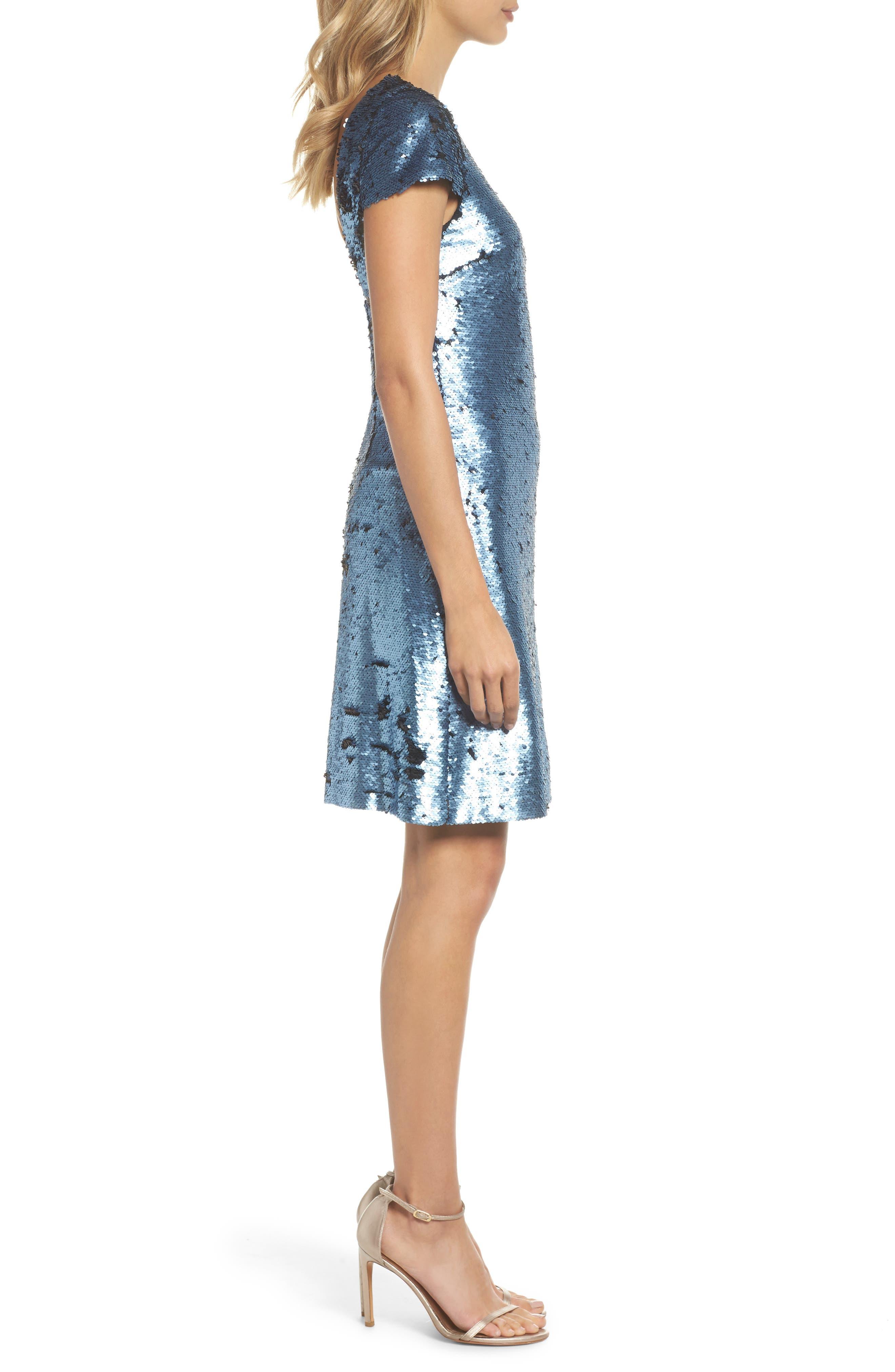 Sequin Sheath Dress,                             Alternate thumbnail 3, color,                             Blue