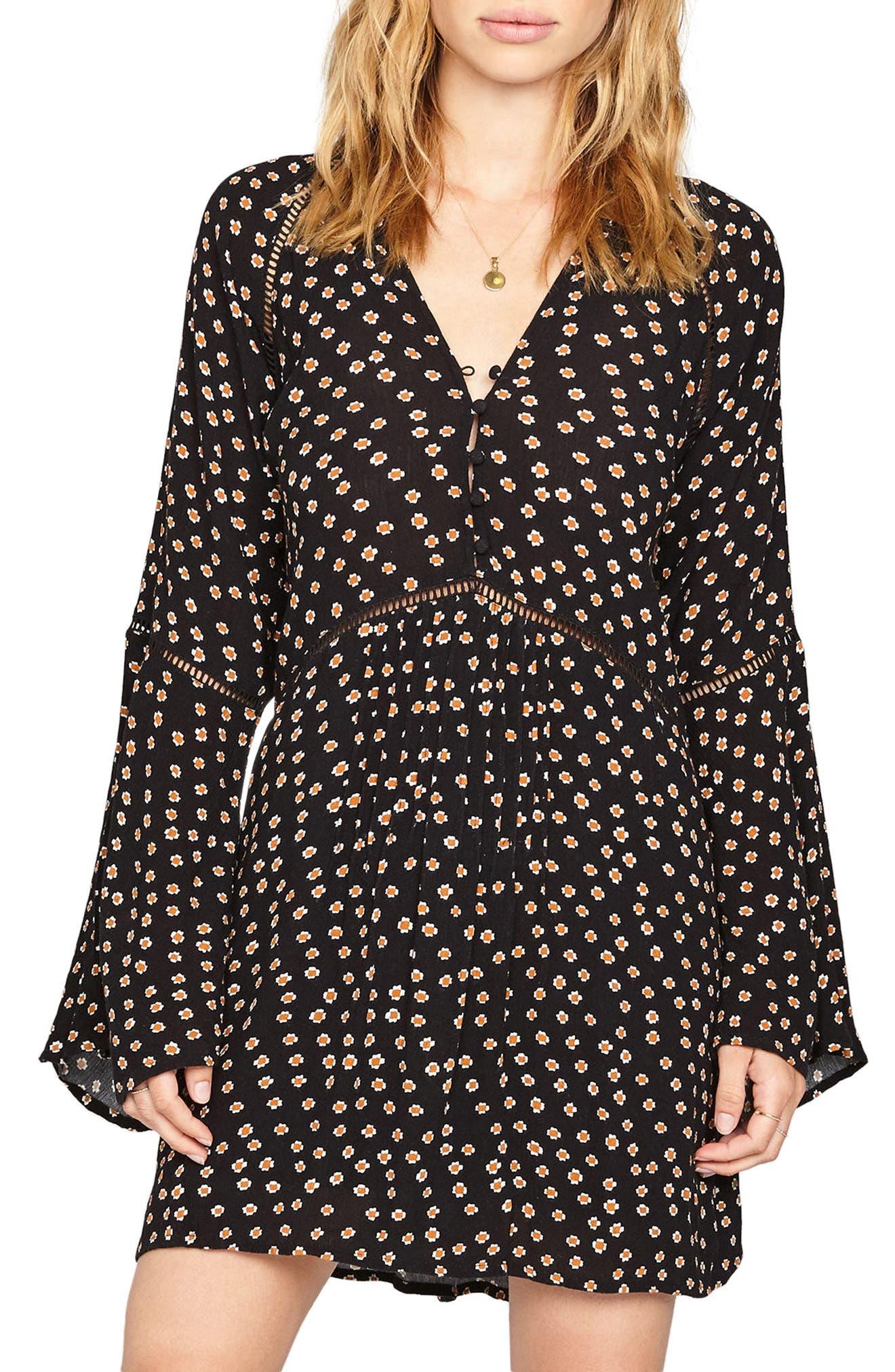 Lovestruck Empire Waist Dress,                         Main,                         color, Black Sands